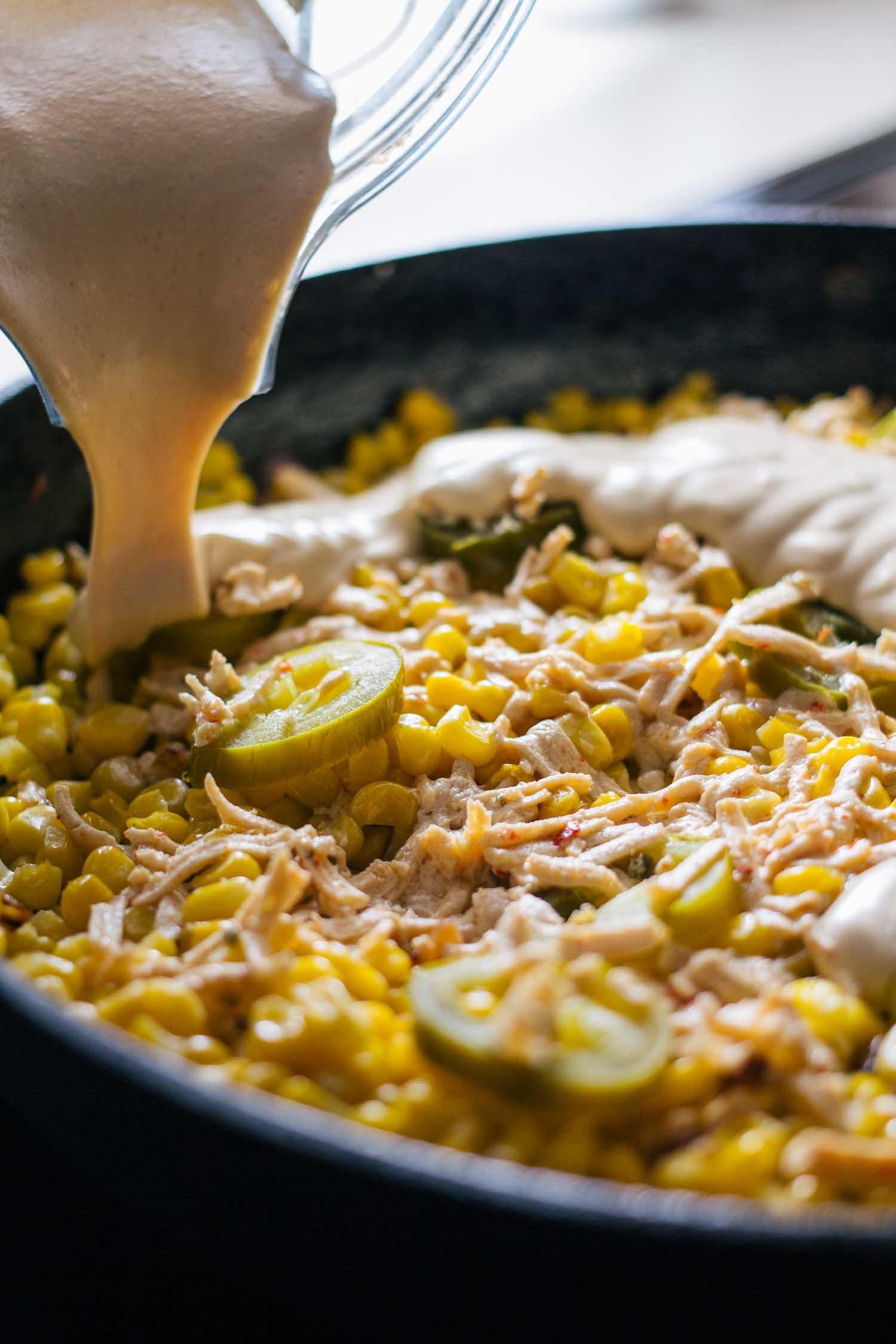 Dairy-Free Cheesy Jalapeño Skillet Dip #corn #jalapenos #recipe