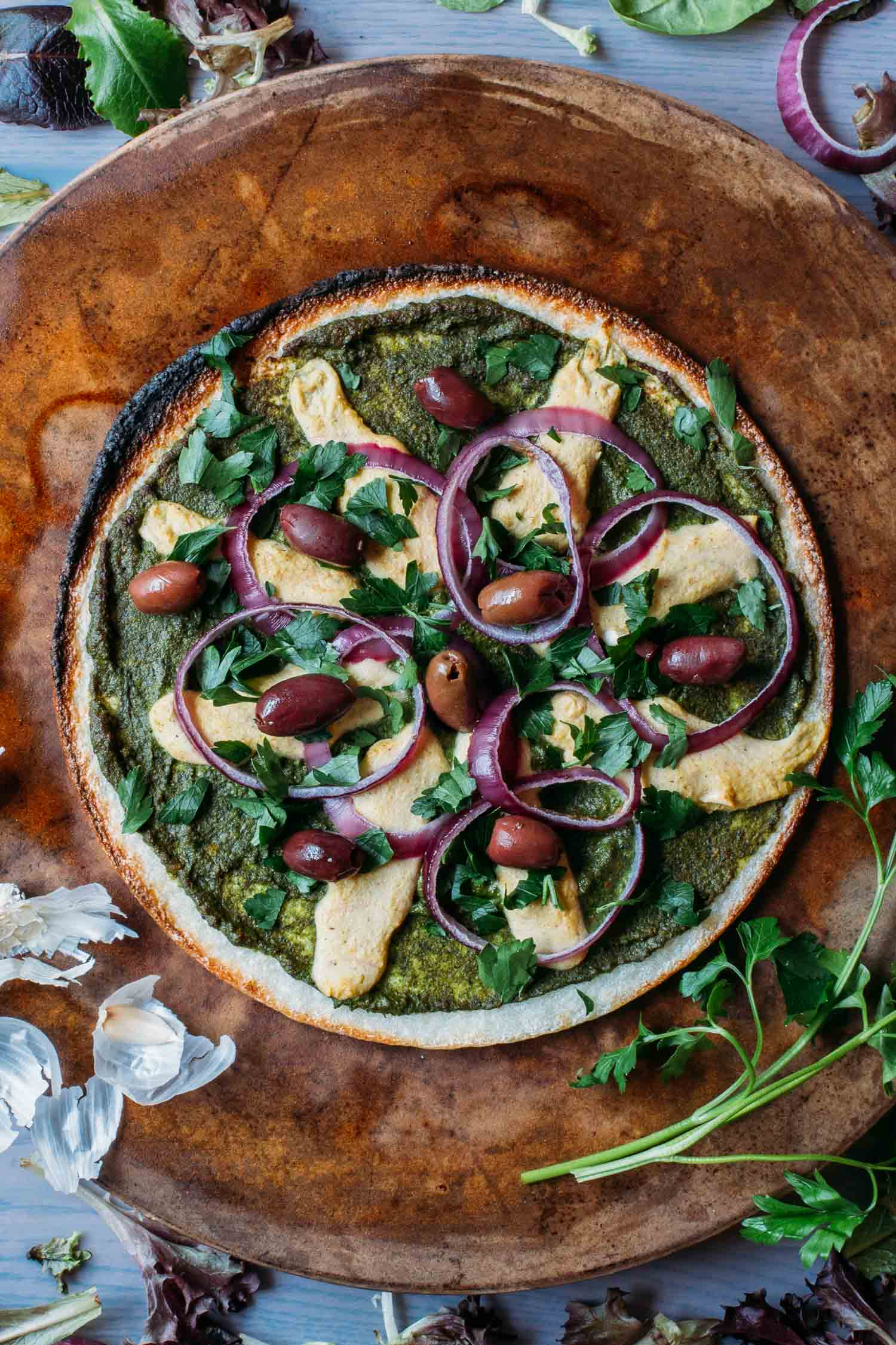 Cauliflower Crust Pesto Pizza #plantbased #diet #meatless #monday