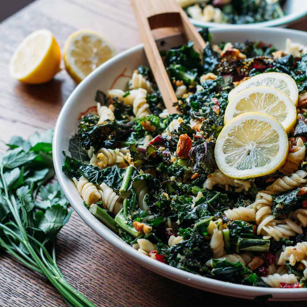 Kale, Pecan & Cranberry Pasta Salad #pasta #gluten-free #side-dish | Veeg