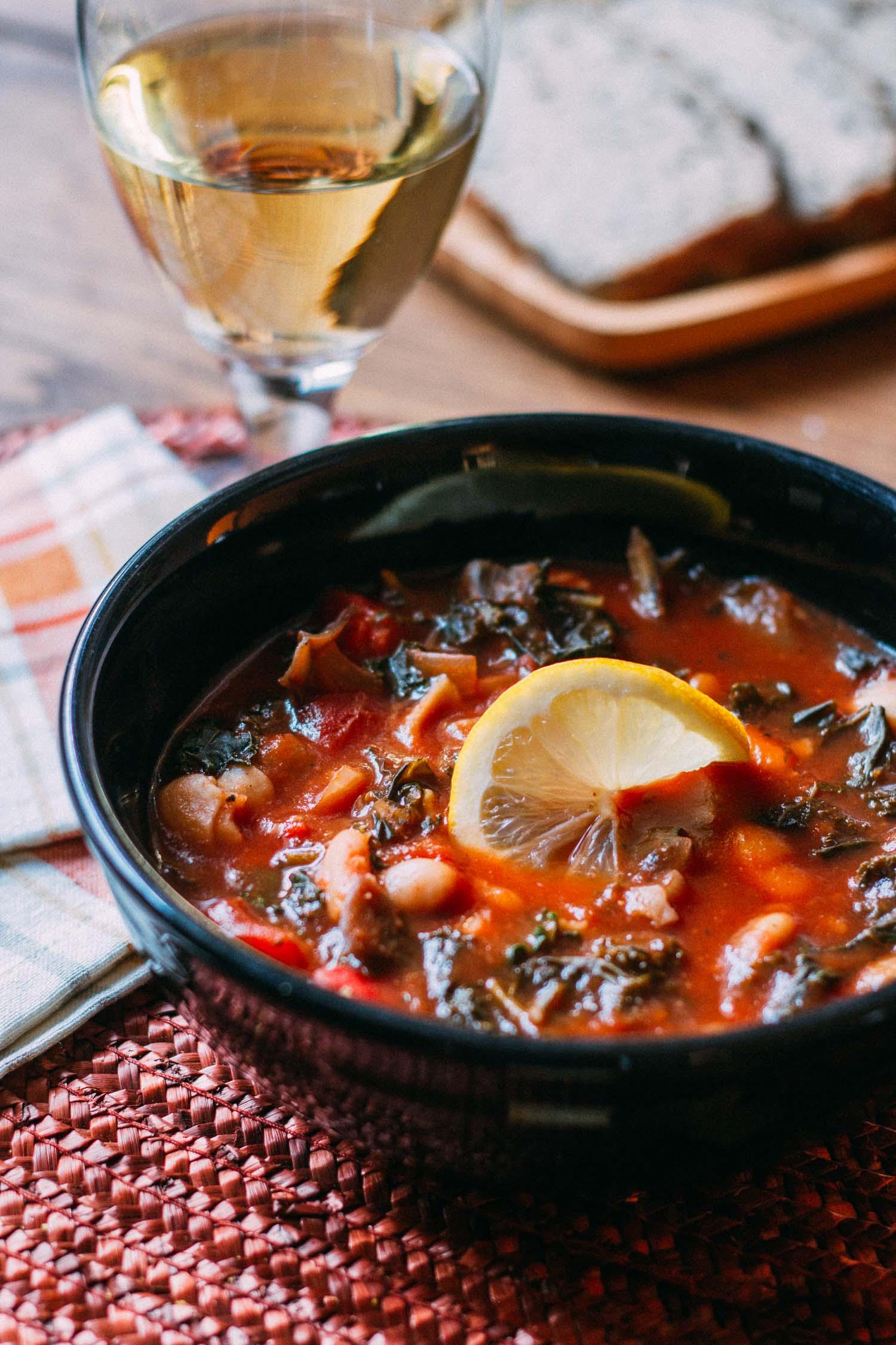 Cannellini Kale Noodle-y Soup #wfpbnp #wfpb #oil #free