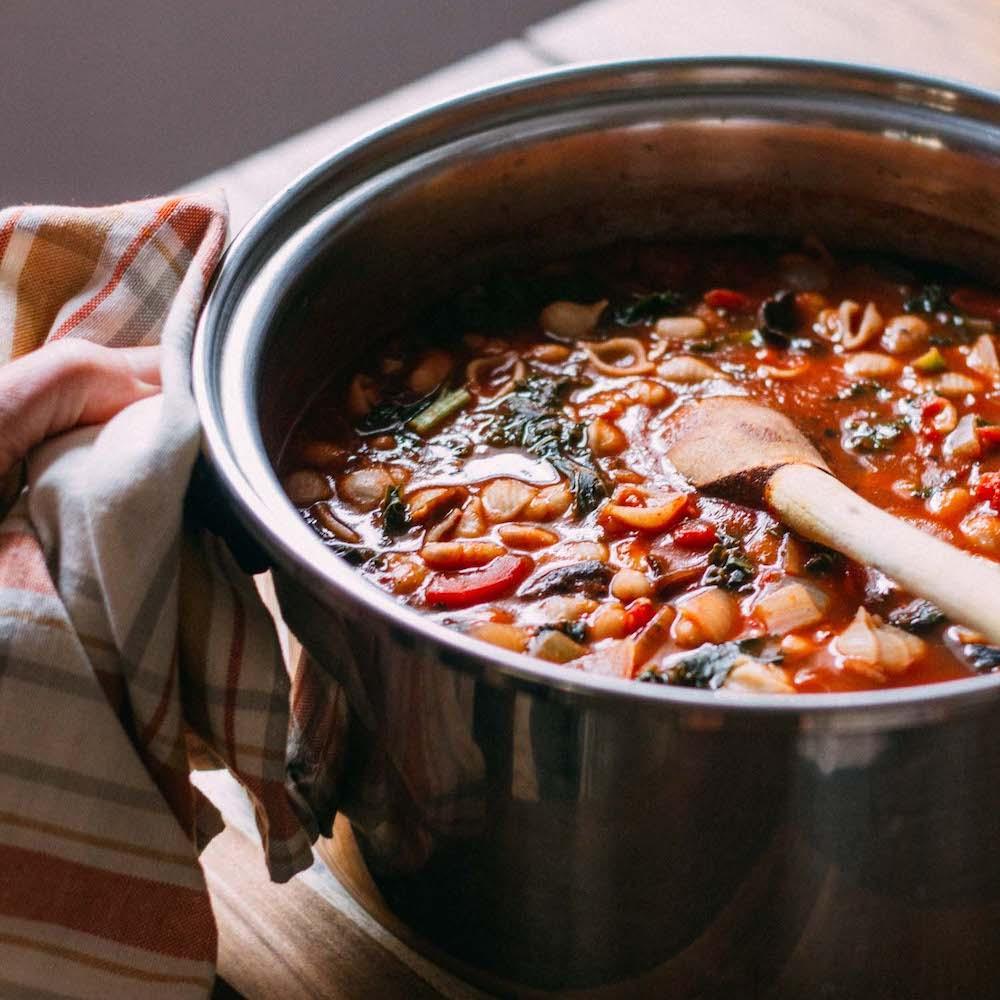 Cannellini Kale Noodle-y Soup #plant #based #vegetarian