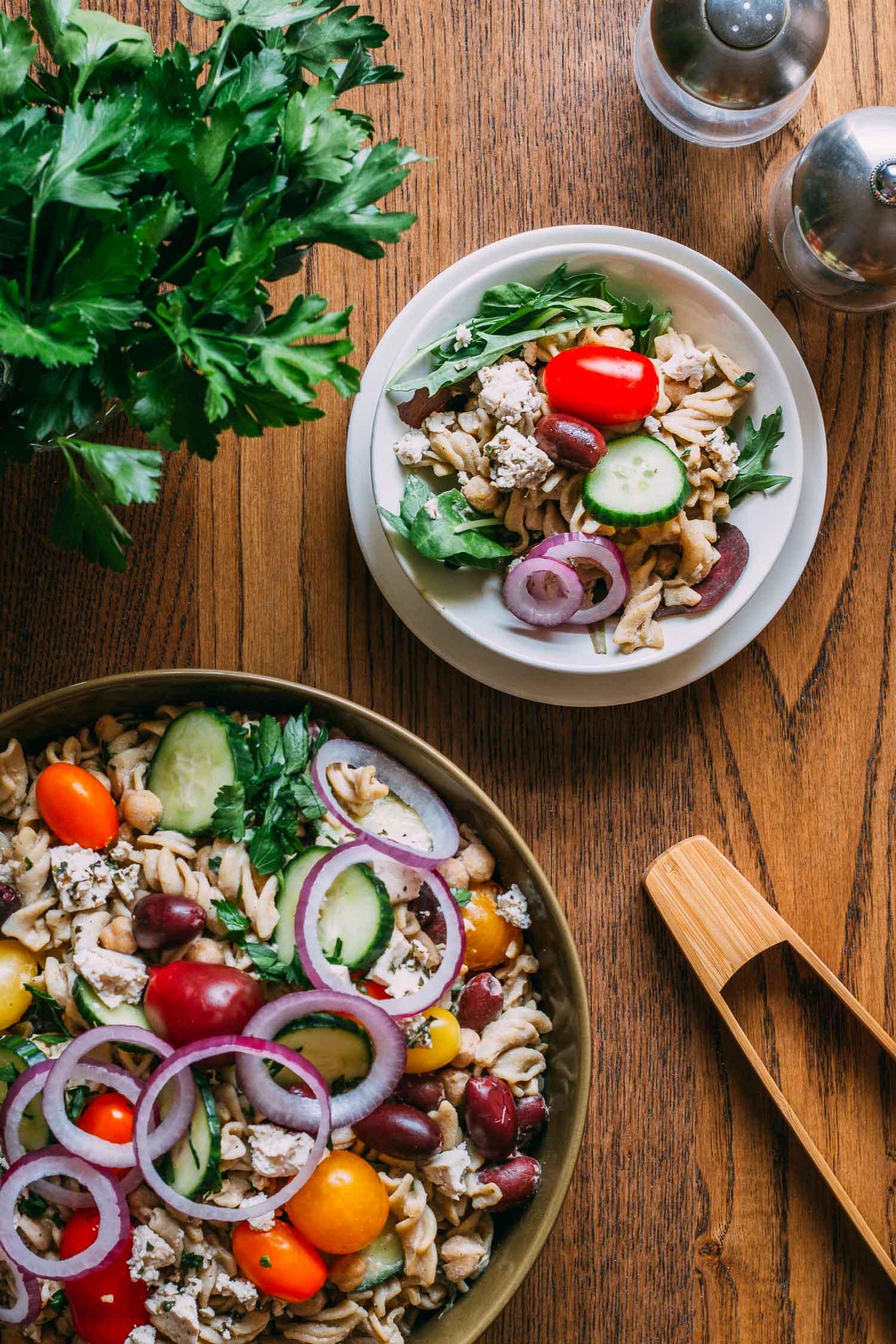 Greek Chickpea Pasta Salad #chickpeas #protein #entree #wfpbno #vegetarian
