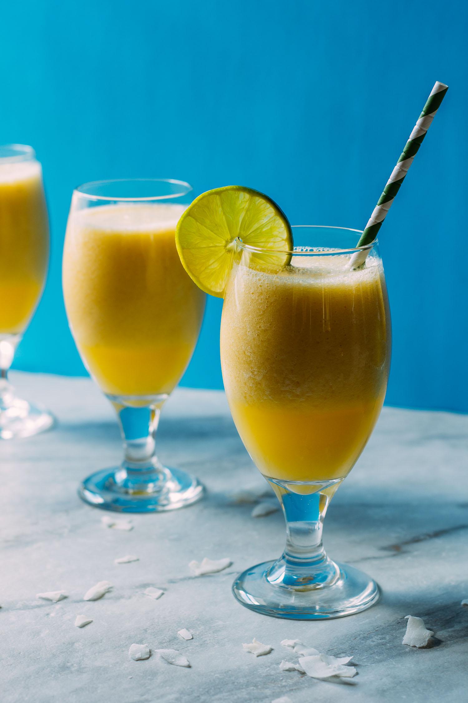 Refreshingly Lite Pina Colada Mango Smoothie #smoothie #mango #pina colada #pineapple #recipe