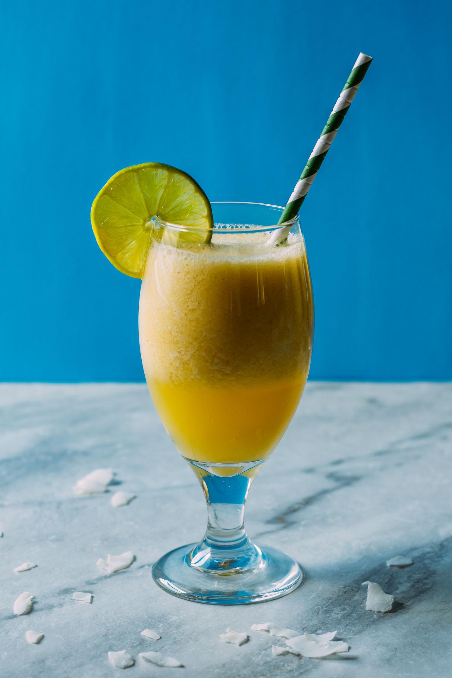 Refreshingly Lite Pina Colada Mango Smoothie #fruit #drink #summertime #recipes #entertaining #wfpb