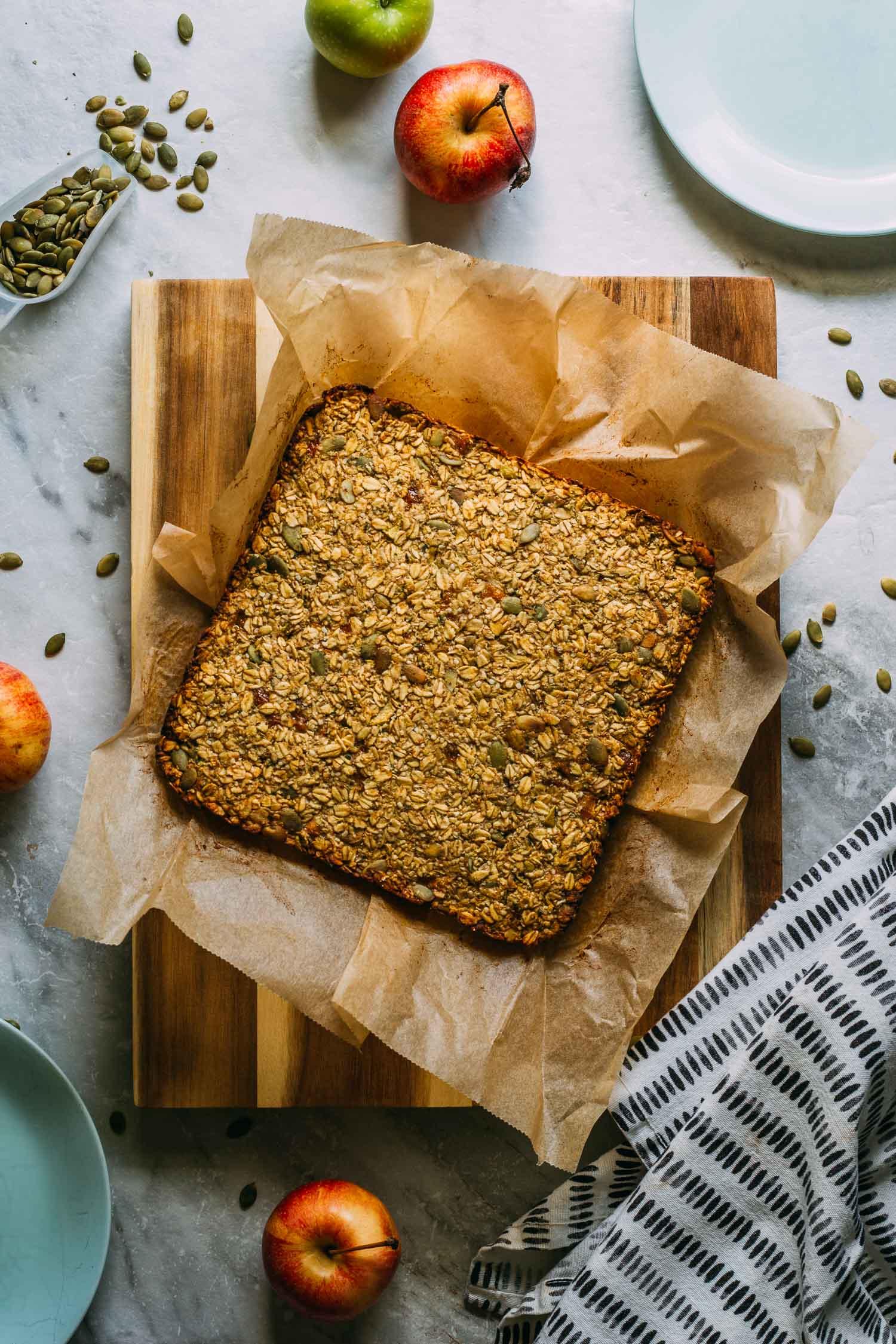 Tahini Mango Granola Bars #tahini #hempseeds #pumkinseeds #tailgating #snacks #healthy #recipe