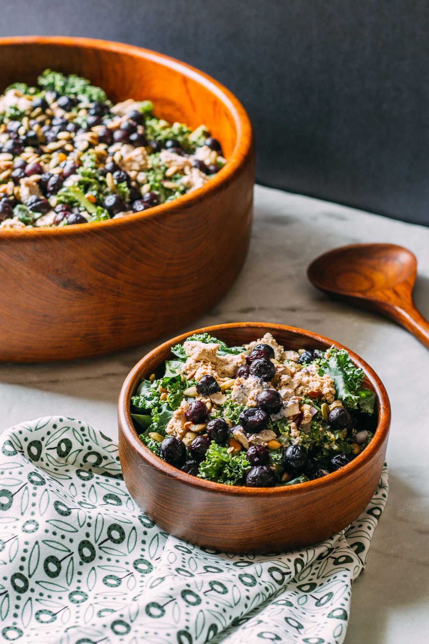 Blueberry Kale Pumpkin Seed Salad #plant-based #vegan #kale #salad #recipe #tofu #protein #gluten-free