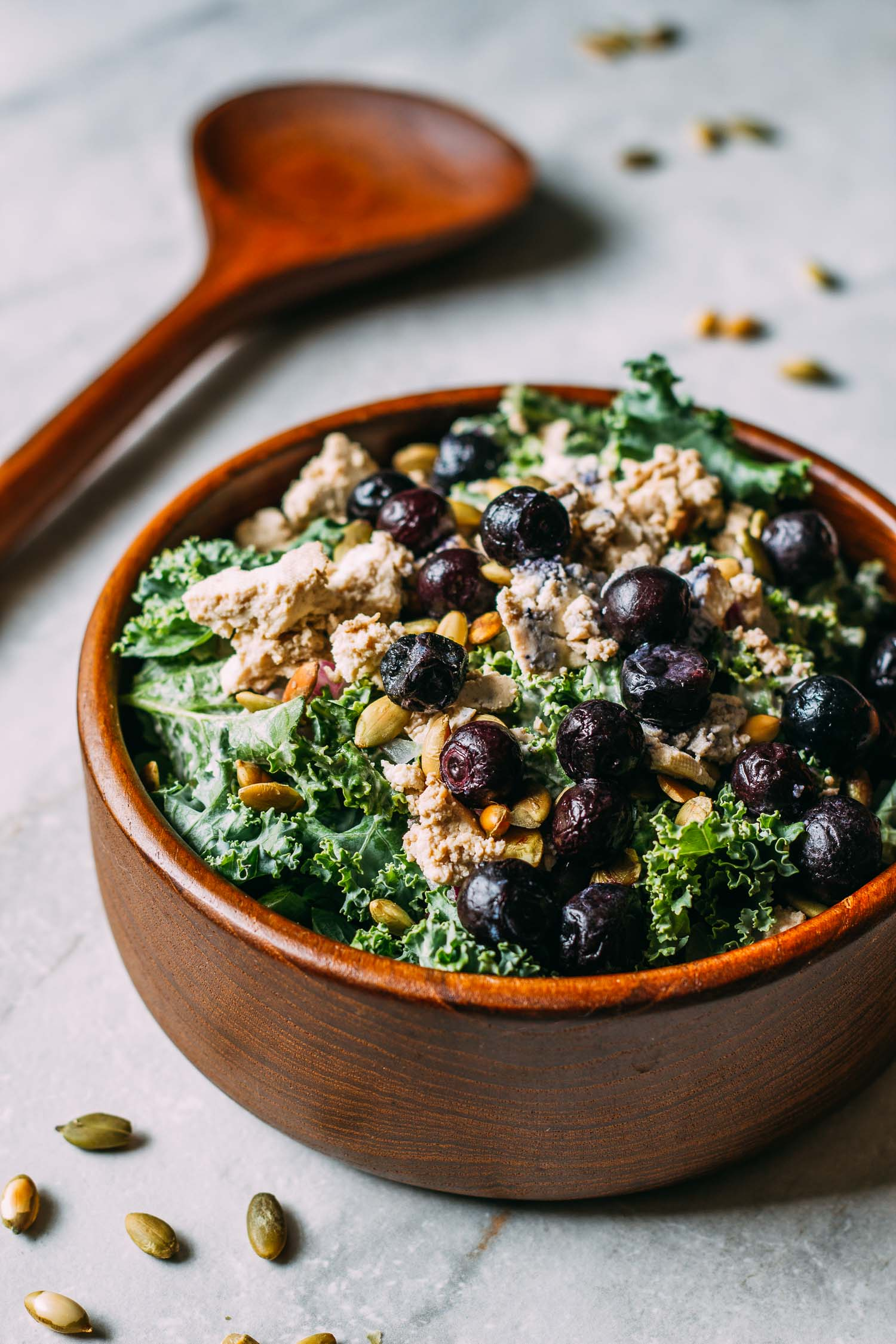 Blueberry Kale Pumpkin Seed Salad #vegetarian #vegan #oil-free #wfpb #wfpbno #recipe #kale #salad #cookout #easy #entertaining #holiday #buffet