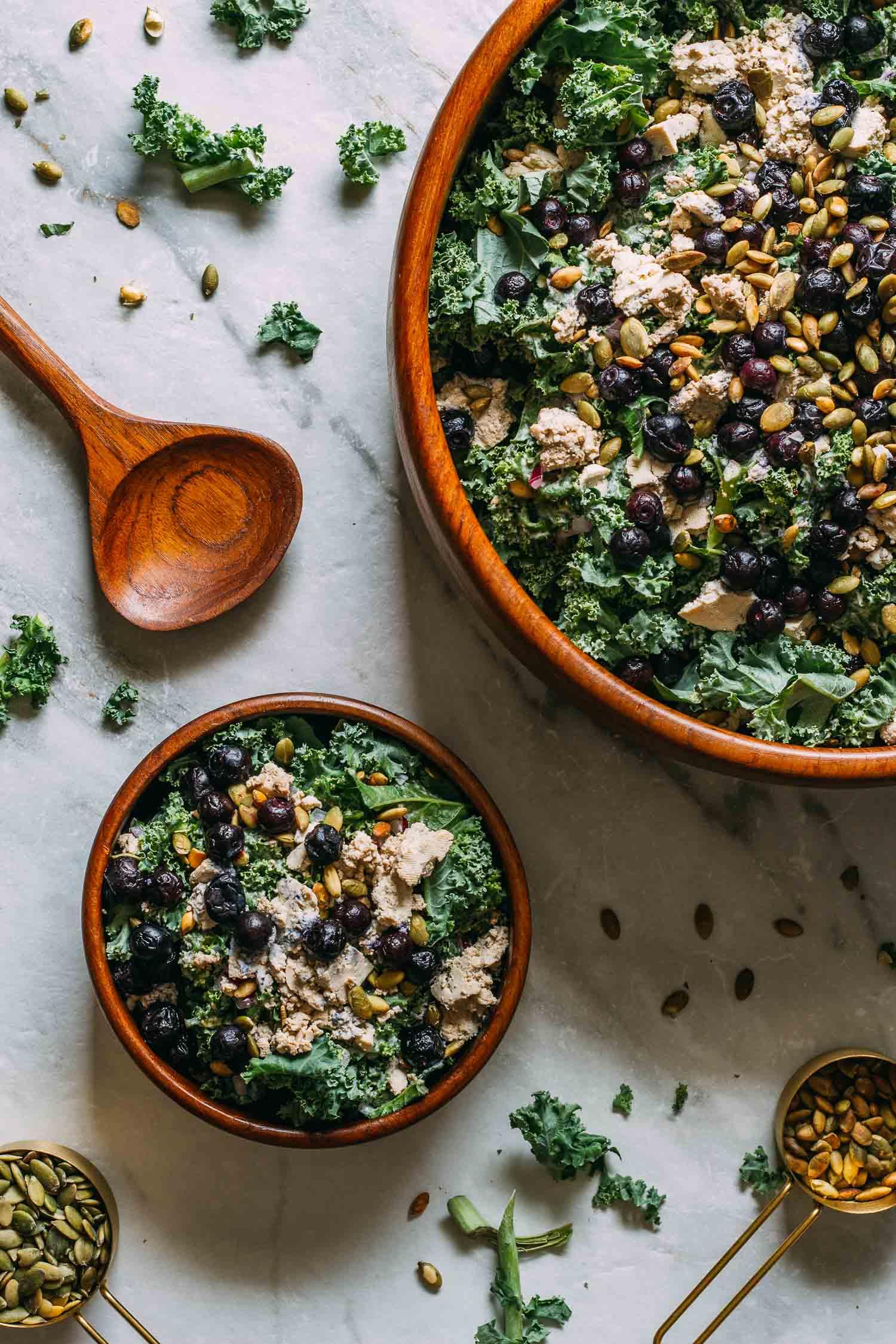 Blueberry Kale Pumpkin Seed Salad #blueberry #kale #pepita #pumpkin #seed #nut-free #oil-free #gluten-free #salad #recipe