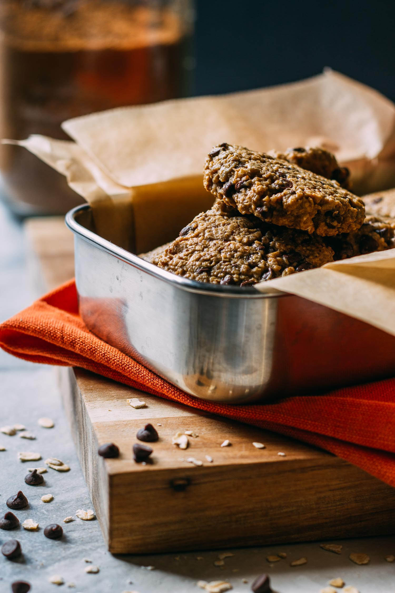 Chewy Chocolate Chip Oatmeal Cookies #cardamom #wfpb #recipe #cookies #aquafaba #treats #gifts #homemade #sweets #sunflower seeds #vegan #wfpbno #recipe