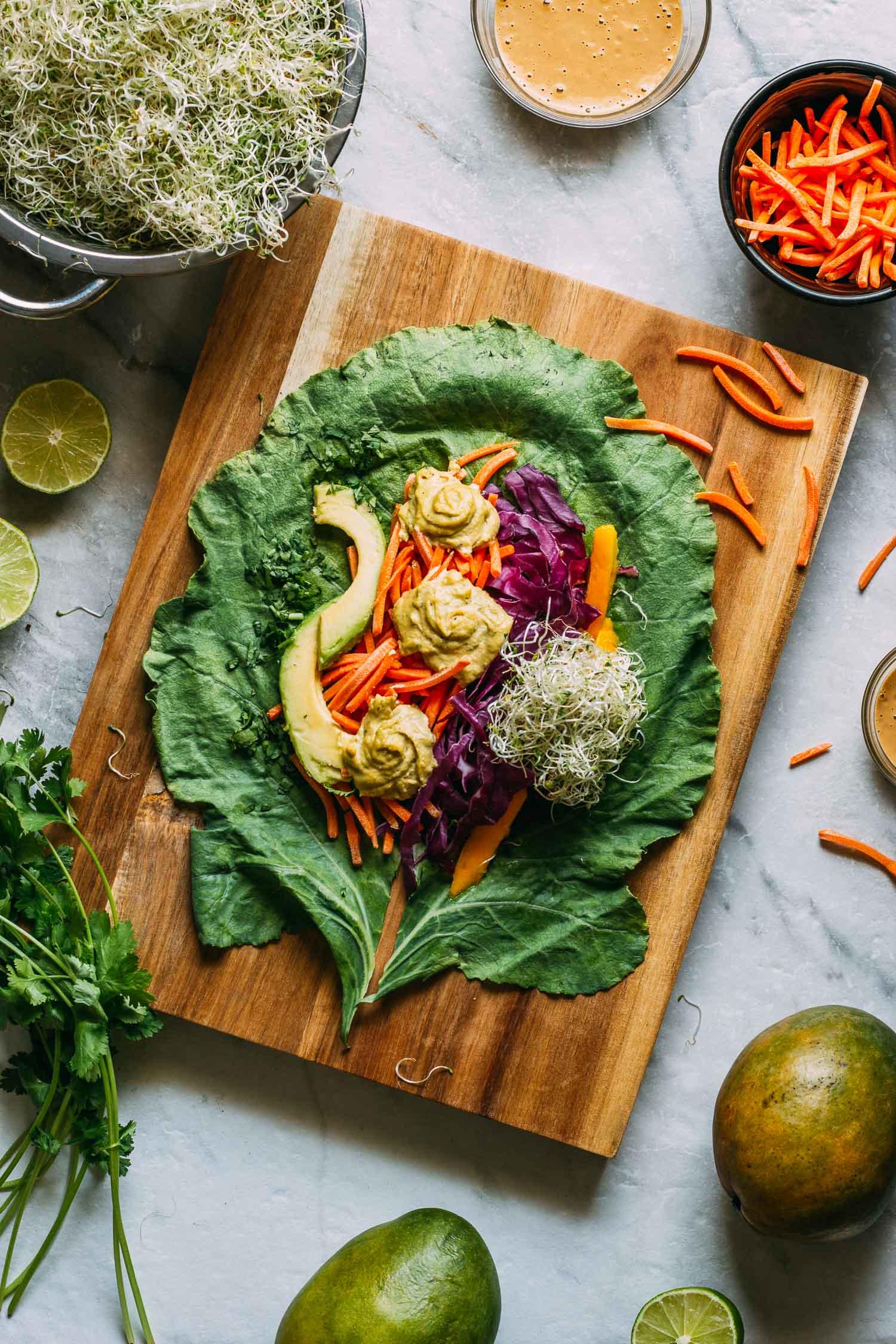 Mango Cashew Collard Wrap #collard #wraps #vegan #vegetarian #avocado #mango #sprouts #greens #recipe #peanut #sauce #thai #wrap #wfpbno #wfpb #raw