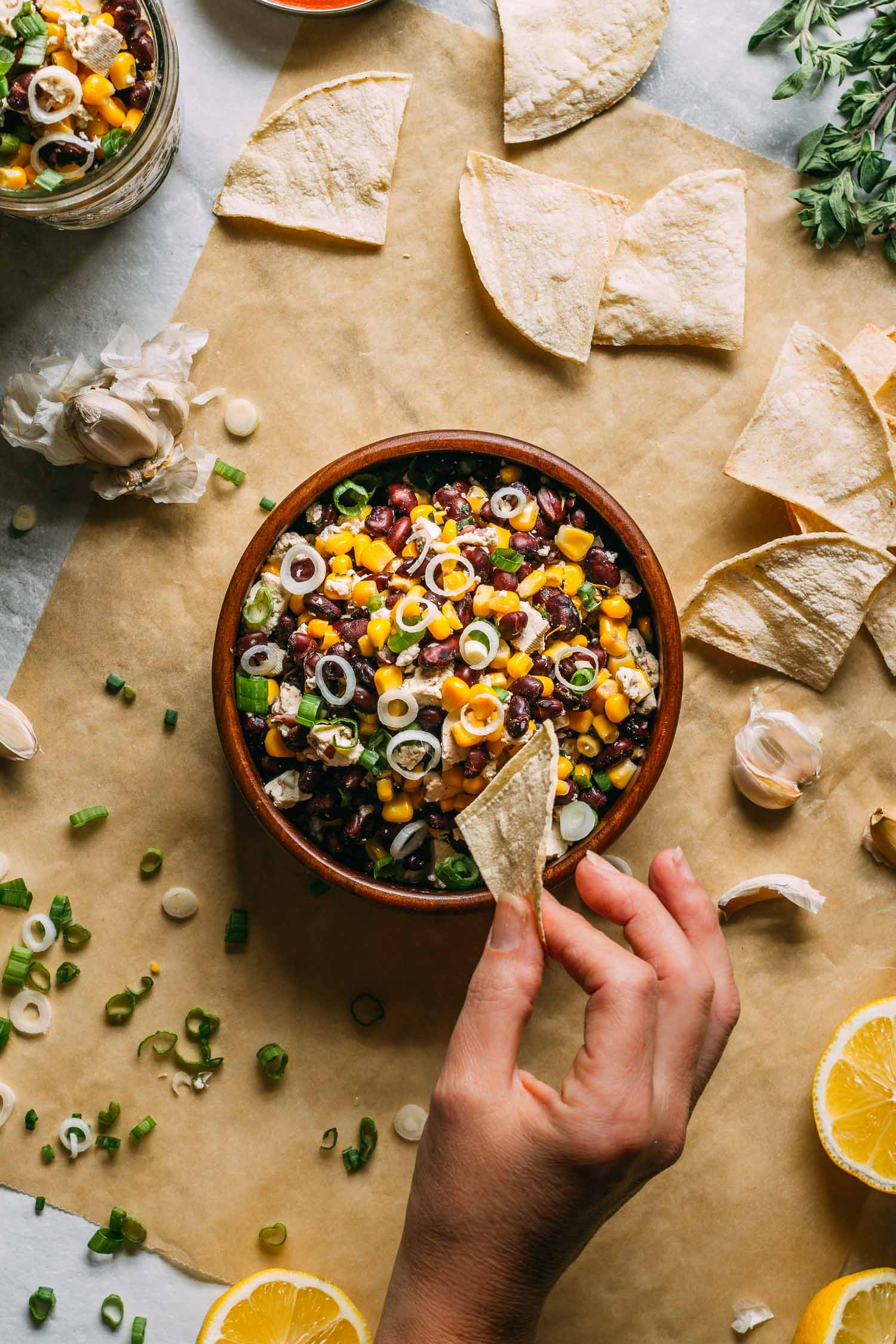 Hippie Harvest Tofu Feta Dip #bean #corn #garlic #tofu #harvest #fall #tailgating #football #party #dip #snack #recipe #plant-based #no-cook #vegan #wfpb #wfpbno #snack #gluten-free #oil-free