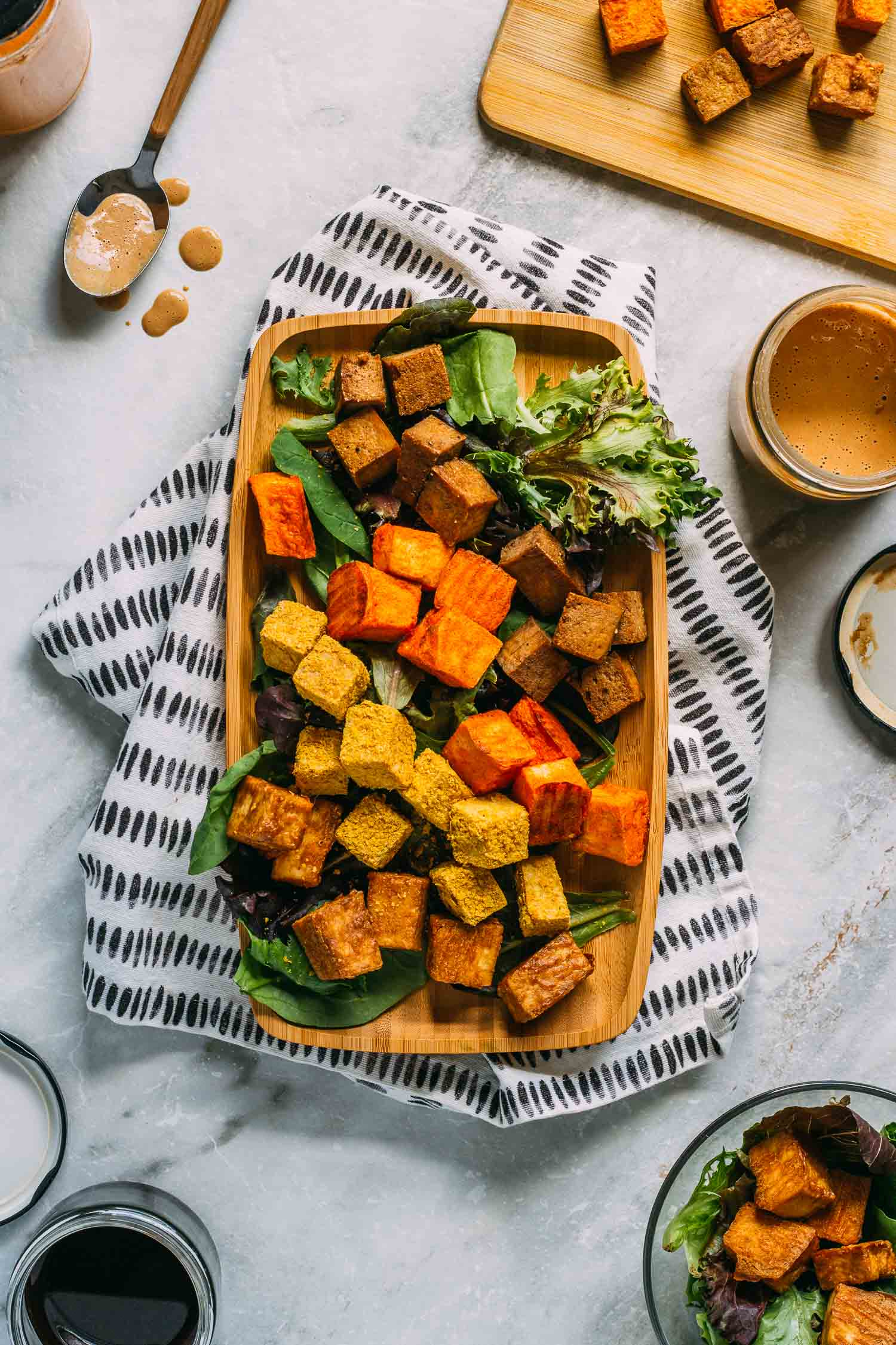 Savory Oil-Free Baked Tofu - Four Ways #tofu #baked #appetizer #snack #entree #recipe #plant-based #vegan #oil-free #protein #vegetarian #buffalo #liquid aminos #nutritional yeast #recipes #thai #asian #wfpbno #wfpb #meatless Monday