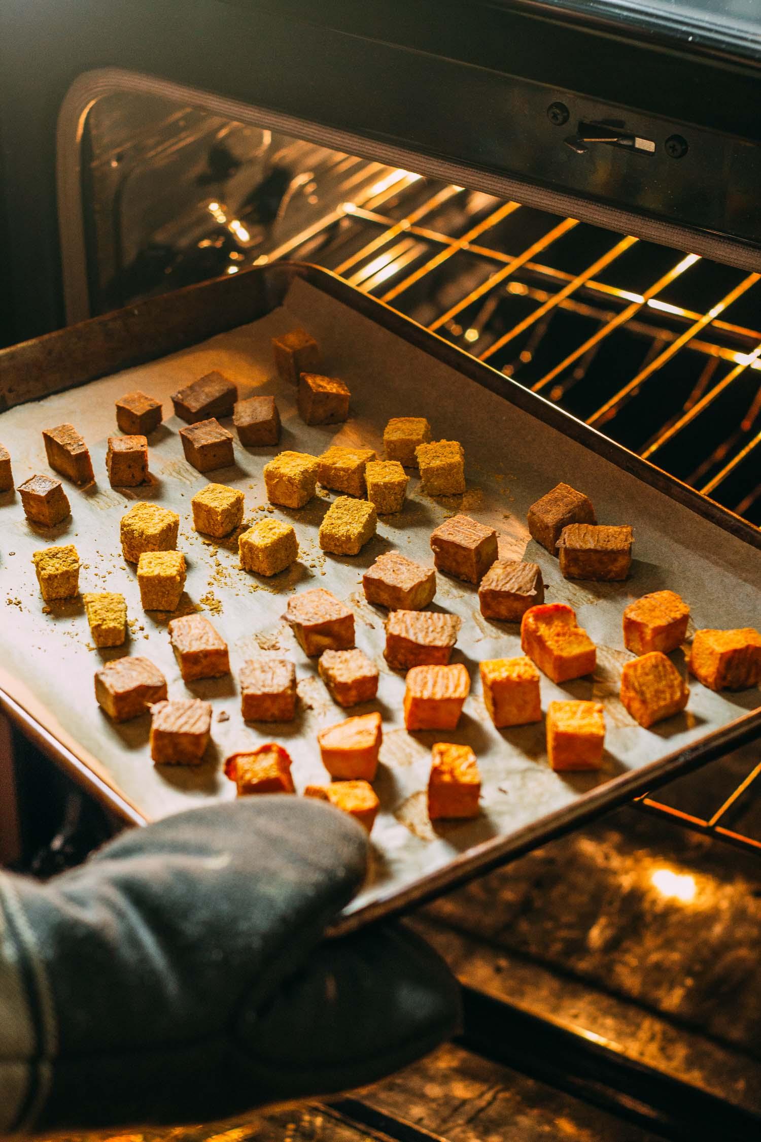 Savory Oil-Free Baked Tofu - Four Ways #tofu #baked #appetizer #snack #entree #recipe #plant-based #vegan #oil-free #protein #vegetarian #buffalo #liquid aminos #nutritional yeast #recipes #thai #asian #wfpbno #wfpb #meatless #Monday