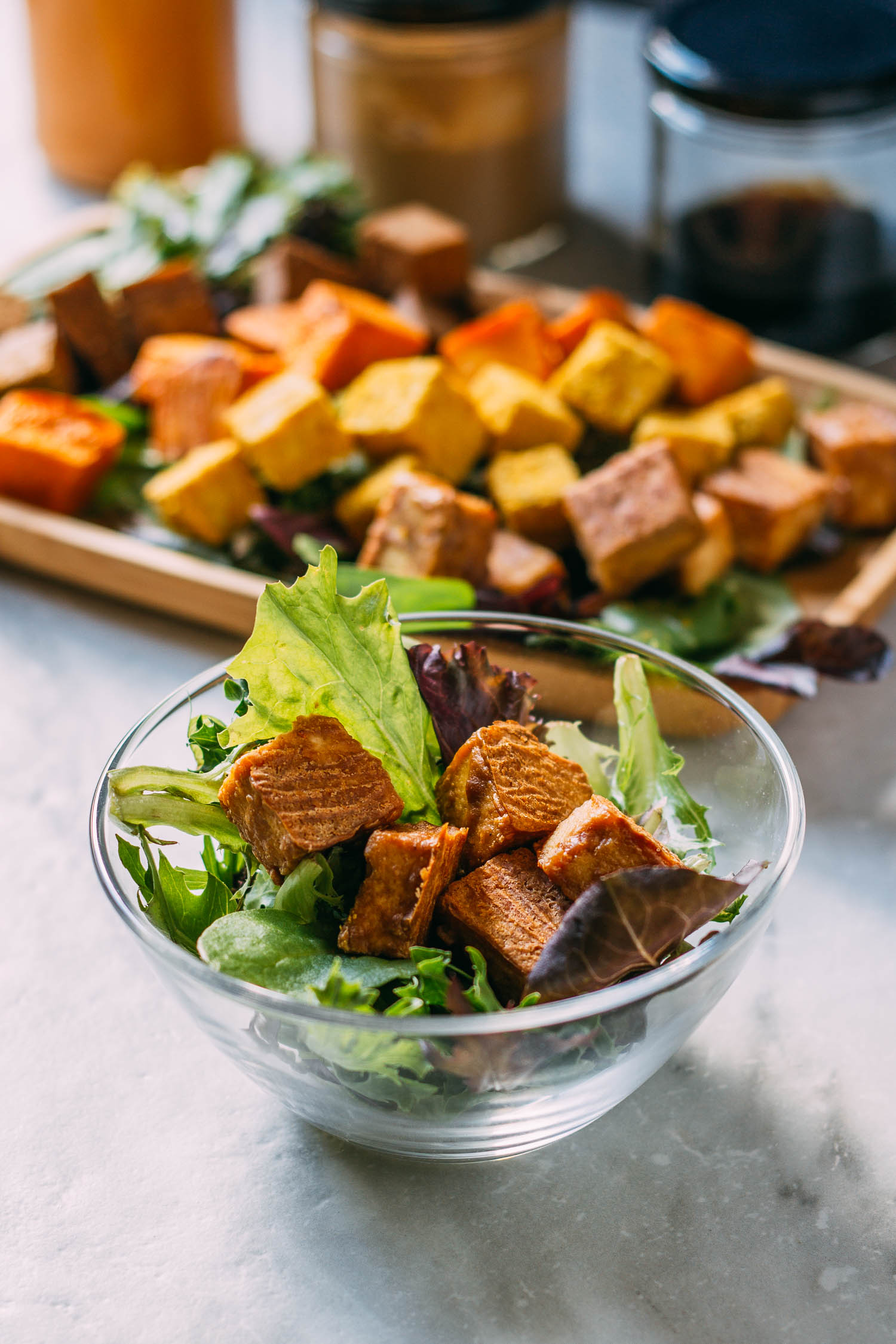 Savory Oil-Free Baked Tofu - Four Ways #tofu #baked #appetizer #snack #entree #recipe #meatless Monday #plant-based #vegan #oil-free #protein #vegetarian #buffalo #liquid aminos #nutritional yeast #recipes #thai #asian #wfpbno #wfpb