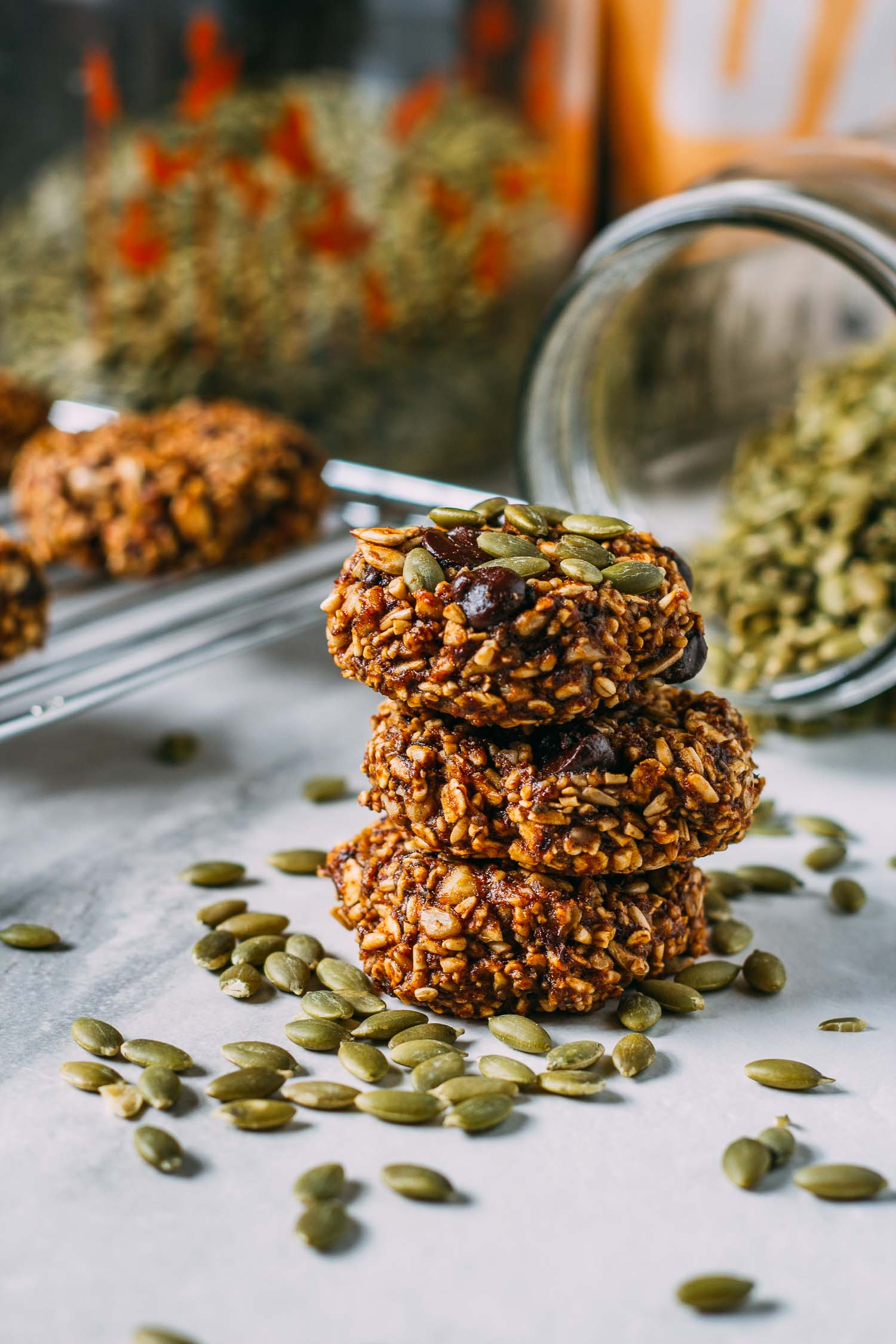 Pumpkin Power Breakfast Worthy Cookies #gluten-free #vegan #wfpb #wfpbno #plant-based #recipe #dessert #recipes #cookies #breakfast #cookie #pumpkin #walnuts #flax #healthy #make-ahead #snack #treat #lunch #fall #thanksgiving #halloween #granola #healthy #chocolate chip