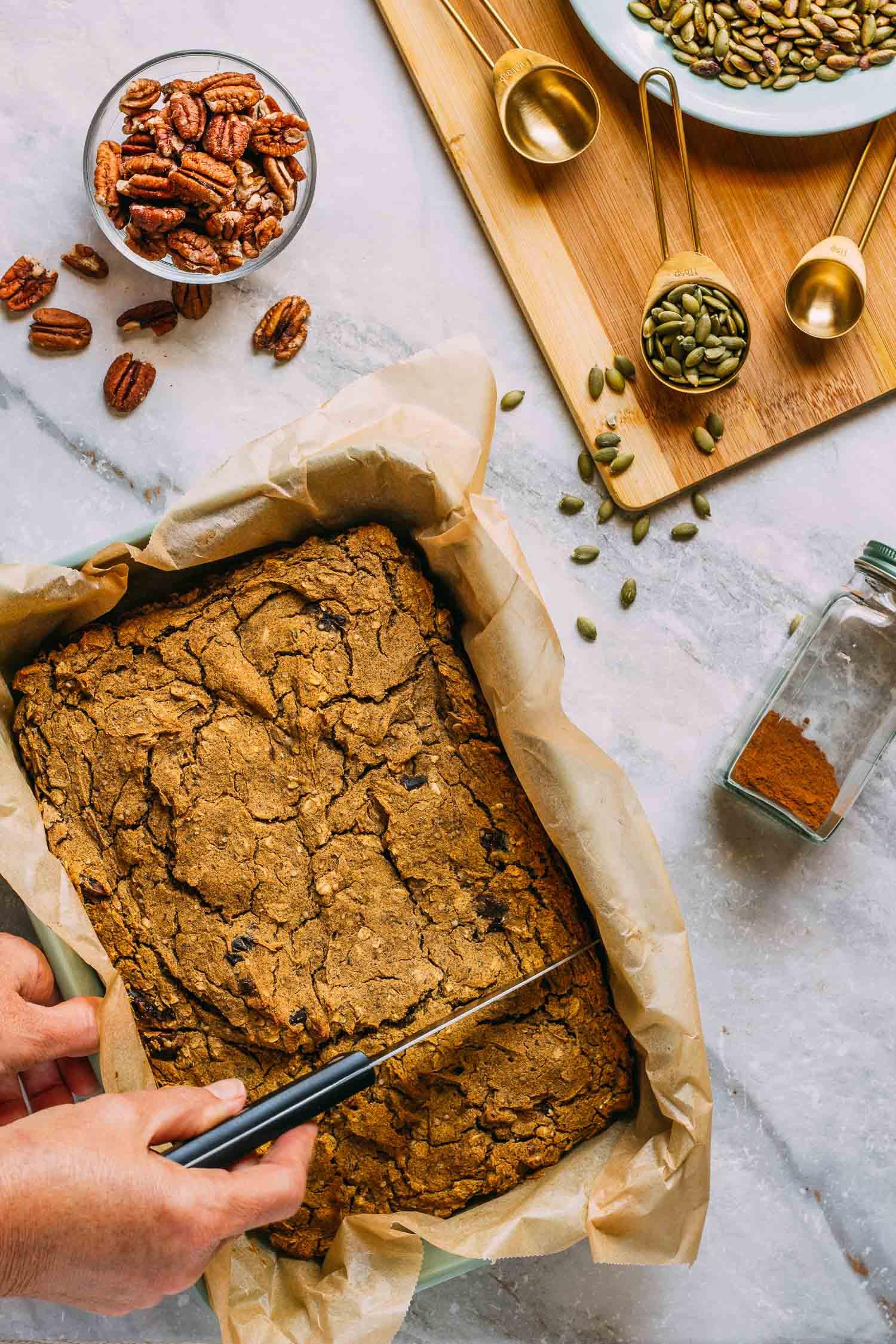 Pumpkin Cinnamon Spice Cake with Cashew Cream Cheese Glaze #pumpkin #cake #cinnamon #spice #cashew #cream #glaze #dairy-free #gluten-free #oil-free #refined sugar-free #plant-based #vegetarian #dessert #breakfast #fall #halloween #harvest #Thanksgiving #Christmas #holidays #recipe #easy #wfpb #recipes #wfpbno #pecans #pumpkinseeds