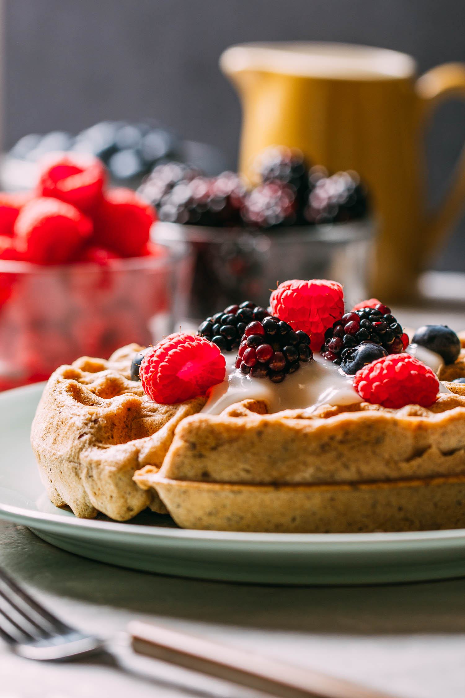 Best Ever Vegan & Gluten-Free Waffles #vegan #gluten-free #refined oil-free #plant-based #refined sugar-free #vegetarian #waffles #breakfast #healthy #nut-free #recipe #recipes #holidays #berries #tahini #cardamom #cinnamon #nutmeg #cashew milk #coconut milk #maple syrup #kid-friendly