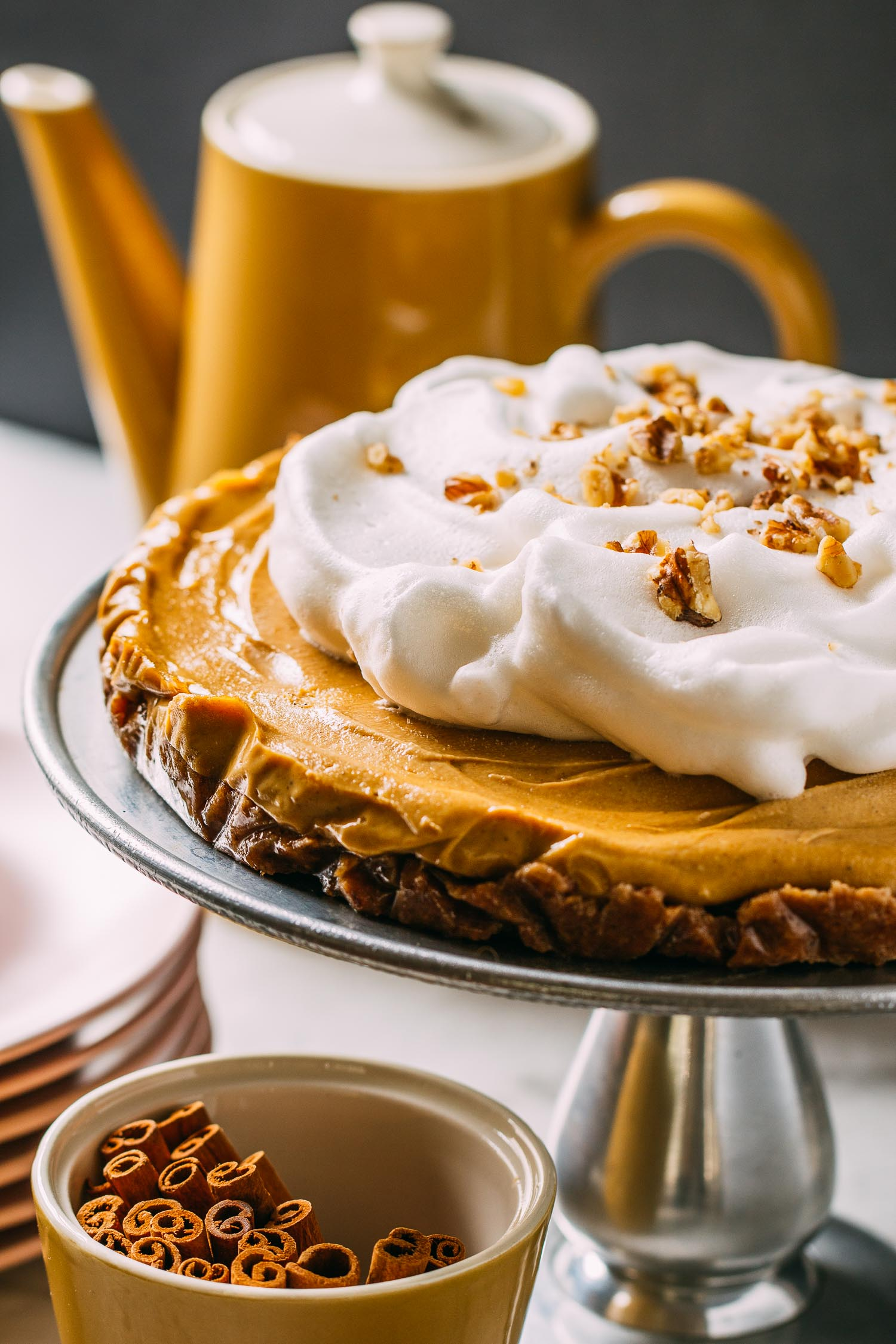 No-Bake Pumpkin Cheesecake with Aquafaba Whipped Cream #pumpkin #cheesecake #cashews #dates #walnuts #aquafaba #whipped cream #dairy-free #gluten-free #vegan #wfpb #wfpbno #refined sugar-free #dessert #recipe #recipes #no-bake #make-ahead #spice #Thanksgiving #Christmas #holidays #fall #winter #freezer #frozen #maple syrup #easy #Vitamix #blender