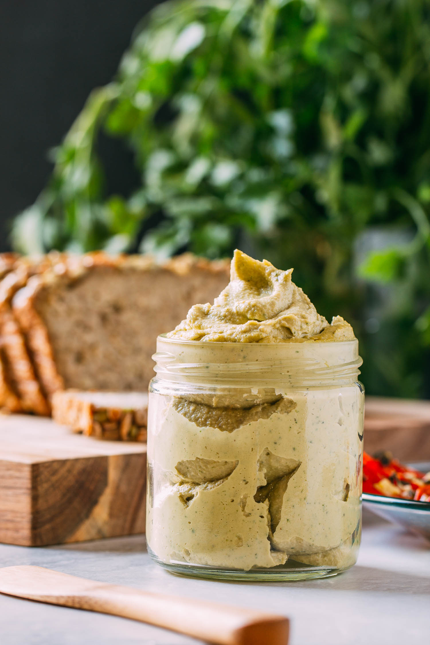 3-Step Sage & Cashew Cream Cheese Spread #cashew #cream #cheese #dairy-free #gluten-free #plant-based #vegan #oil-free #wfpb #wfpbno #recipe #easy #recipes #no-cook #raw #cashews #tahini #sage #parsley, #garlic #lemon #appetizer #entertaining #budget #party #tailgating #spread #cheesy #snack #kid-friendly