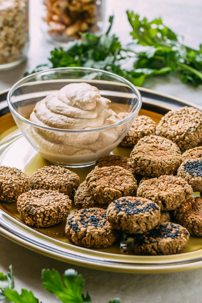 Baked Walnut & Oat Falafel #falafel #baked #walnut #oats #oat #oil-free #heart #healthy #wfpb #wfpbno #McDougal #fork-over-knives #vegan #vegetarian #meatless #Monday #dinner #snack #gluten-free #recipe #vegetarian #plant-based #diet #low-fat #Egyptian #Israeli #street-food #lunch #fritter #slider #appetizer #sesame-seeds