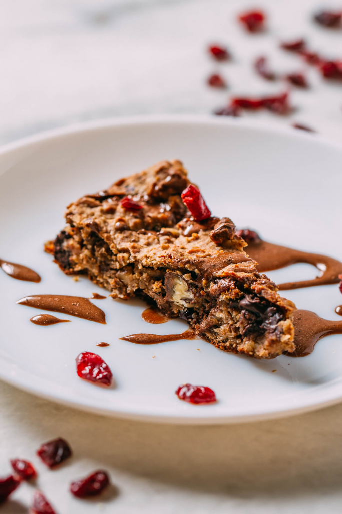 Vegan Baked Chocolate Chip Skillet Scones #scones #chocolatechip #vegan #wfpb #wfpbno #baked #dessert #treat #kid-friendly #healthy #snack #McDougal #forks-over-knives #plant-based #gluten-free #cranberries #pecans #cacao-nibs #walnuts #oil-free #refine-sugar-free #Medjool #dates #iron-skillet