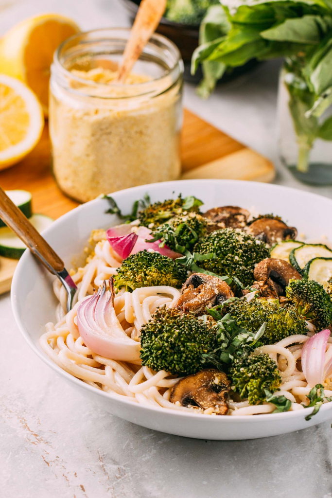 5-Minute Lemon Basil Alfredo Sauce, Pasta & Roasted Vegetables #lemon #basil #alfredo #sauce #vegan #plantbased #nocook #healthy #raw #wfpbno #wfpb #glutenfree #pasta #roasted #vegetables #broccoli #mushrooms #onions #zucchini #squash #recipe #dinner #recipes #dairyfree #oilfree #fok #mcdougall #forksoverknives #veganuary #meatless #monday #vegetarian