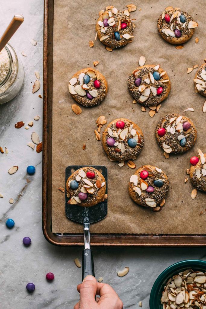 Chewy Almond Lemon Bird's Nest Cookies  #chewy #chiaseeds #almond #lemon #birdsnest #cookies #cookie #tahini #oilfree #cleaneating #diet #eat #healthy #food #vegan #vegetarian #recipes #veggie #dairyfree #plantbased #glutenfree #eatclean #sugarfree #recipe #wheatfree #wfpb #wfpbno #fok #mcdougall #Easter #spring #babyshower #vegansnacks #treats #dessert #Unreal #children #kids