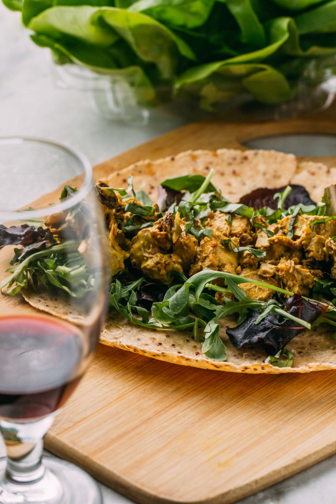 Coconut Curry Salad Wrap #coconut #curry #salad #wrap #tofu #cleaneating #diet #eat #healthy #food #vegan #vegetarian #baked #recipes #veggie #dairyfree #plantbased #glutenfree #eatclean #sugarfree #recipe #makeahead #oilfree #fok #mcdougall #wfpbno #wfpb #sprouts #summer #sacklunch #lunch #basil