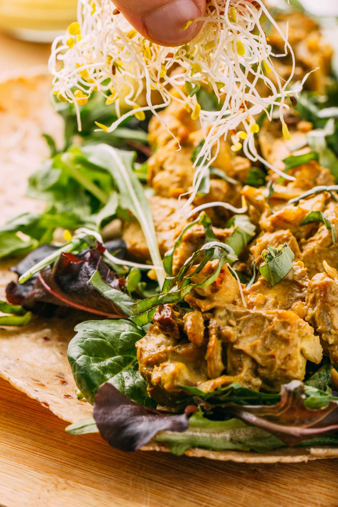 Coconut Curry Salad Wrap #coconut #curry #salad #wrap #tofu #cleaneating #diet #eat #healthy #food #vegan #vegetarian #baked #recipes #veggie #dairyfree #plantbased #glutenfree #eatclean #sugarfree #recipe #makeahead #oilfree #fok #mcdougall #wfpbno #wfpb #sprouts #summer #sacklunch #lunch