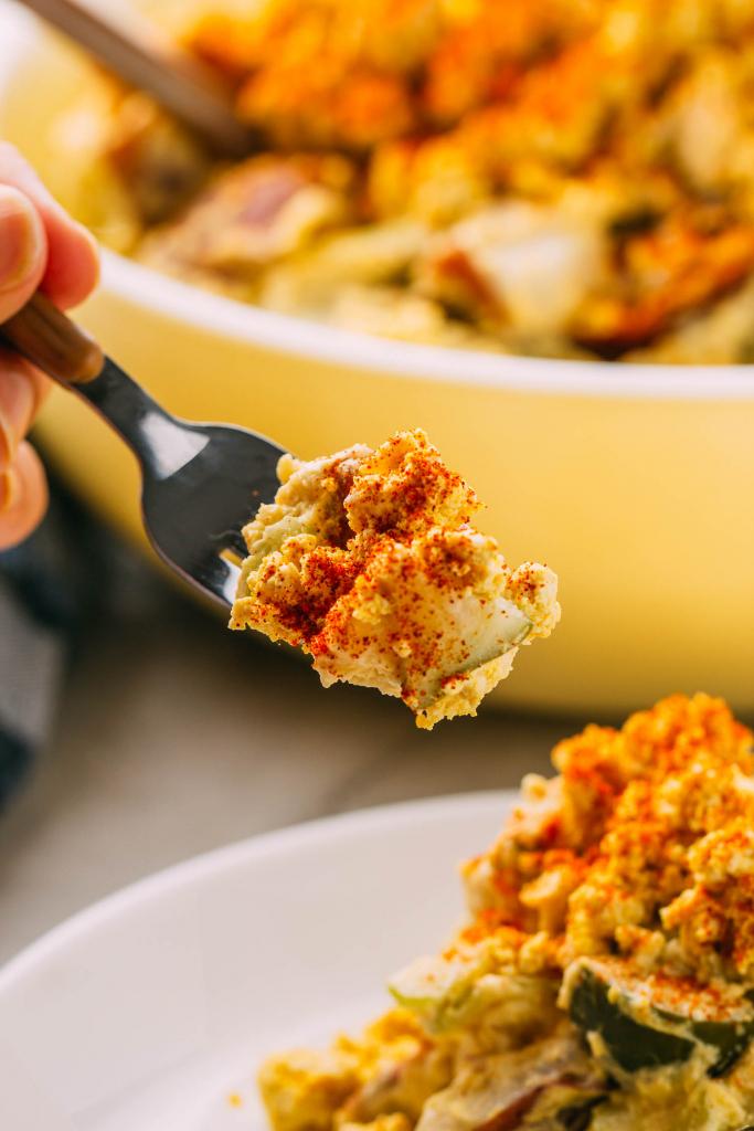 Mama's Vegan Southern Style Potato Salad #potato #salad #vegan #side #main #bbq #picnic #southern #comfortfood #cookout #glutenfree #dairyfree #summer #tailgating #potluck #recipe #potatoes #onion #celery #pickles #mustard #veganmayonnaise #veganmayo #paprika #wfpb #oilfree #wfpbno