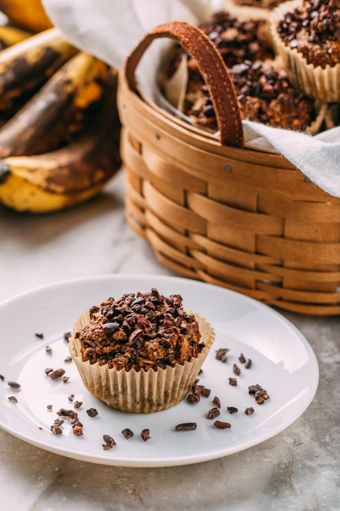 Oatmeal Raisin Chunky Monkey Muffins #chocolatechip #vegan #banana #oatmeal #chia #cacaonibs #raisins #walnuts #pecans #chunkymonkey #muffin #recipe #muffins #glutenfree #dairyfree #plantbased #wfpb #wfpbno #oilfree #plantbaseddiet #recipes #breakfast #kidfriendly #chia #makeahead #freeze #fok #healthy #cleaneating #snack #dessert