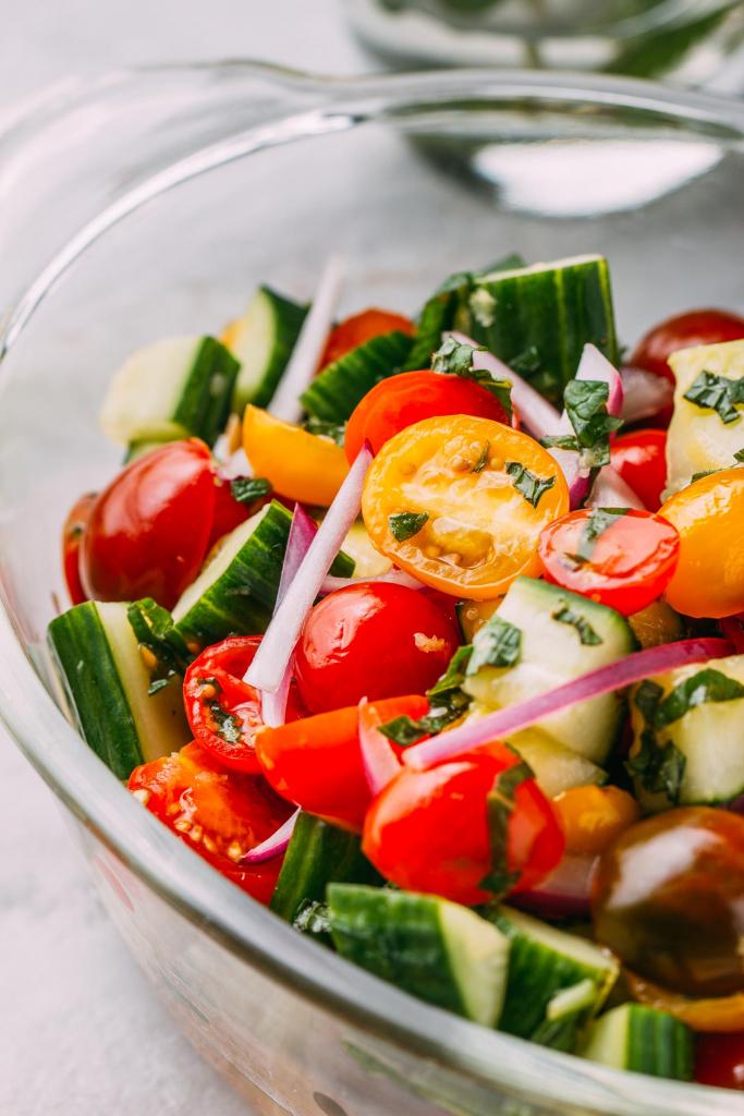 Cucumber, Mint & Tomato Salad #cucumber #mint #tomato #salad #middleeastern #cleaneating #diet #eat #healthy #food #pescetarian #vegan #vegetarian #recipes #veggie #dairyfree #plantbased #glutenfree #eatclean #wfpb #wfpbno #oilfree #recipe