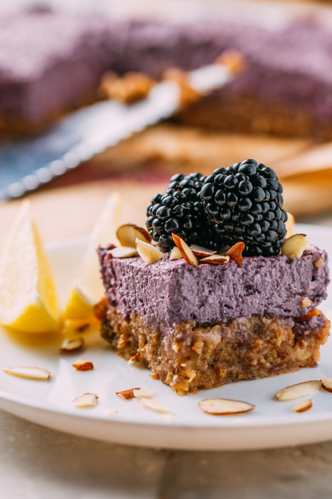 No-Bake Blackberry Dream Bars #nobake #blackberry #bars #dessert #nocook #glutenfree #dairyfree #recipe #cleaneating #recipes #cashews #blackberries #purple #vegan #plantbased #wfpb #oilfree #freezer #dates #almonds #wfpbno #Medjooldates #dates #coconut #refinedsugarfree