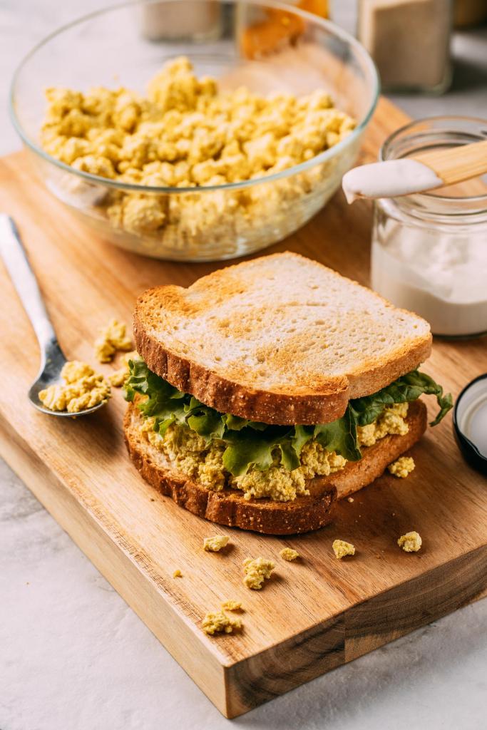 vega tofu egg salad sandwich seasoned with what is black salt