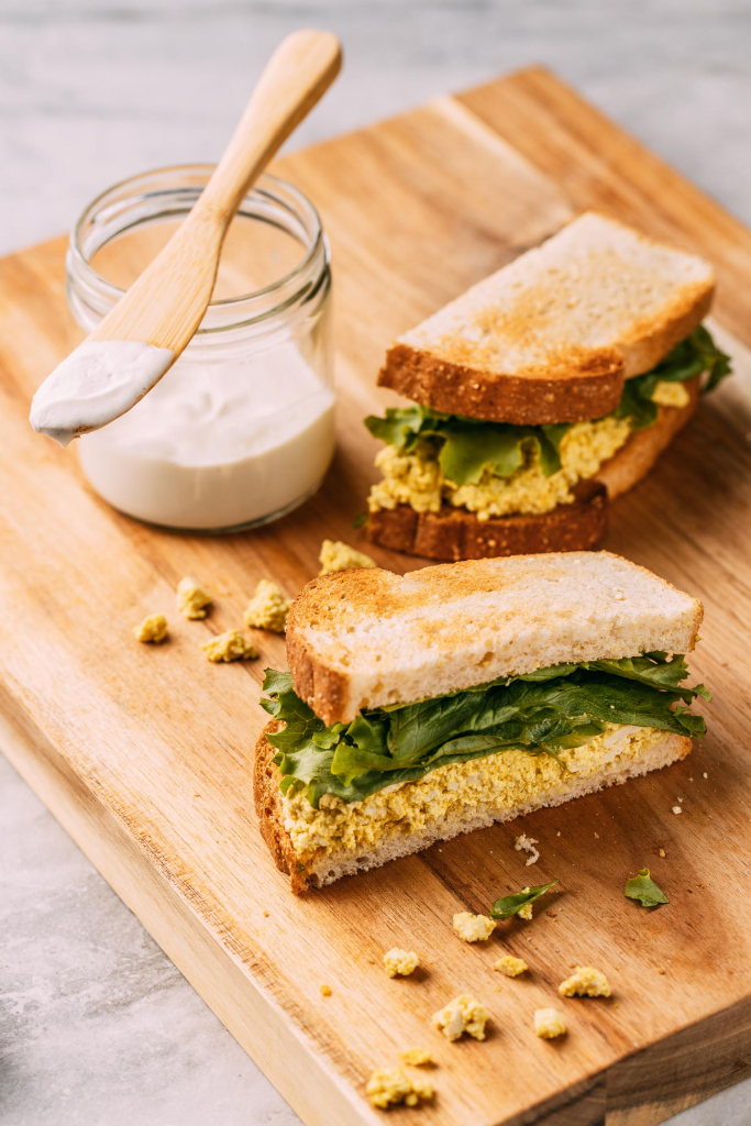 pressed tofu egg salad with vegan oil-free cashew mayonnaise