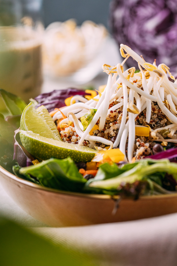 chunks of yellow pepper add pops of sunshine to quinoa bowl with red cabbage and crunchy bean sprouts