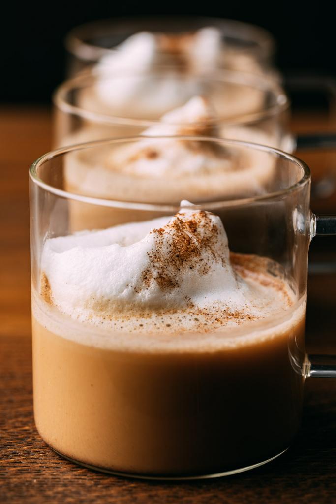 three healthy pumpkin spice lattes in a row