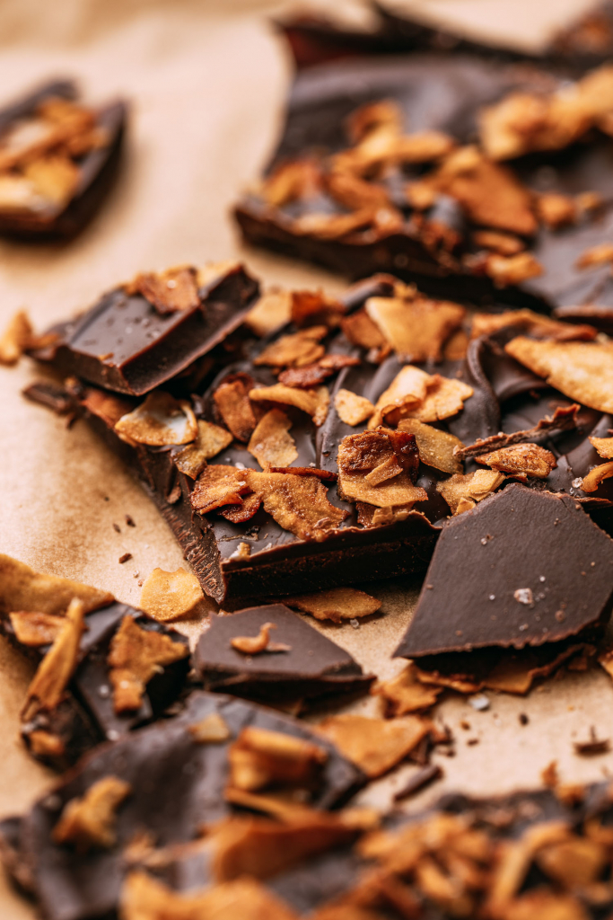 recipe first teaches how to melt chocolate for vegan chocolate bark candy