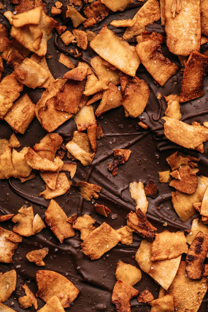 flakes of vegan bacon made from coconut and liquid smoke