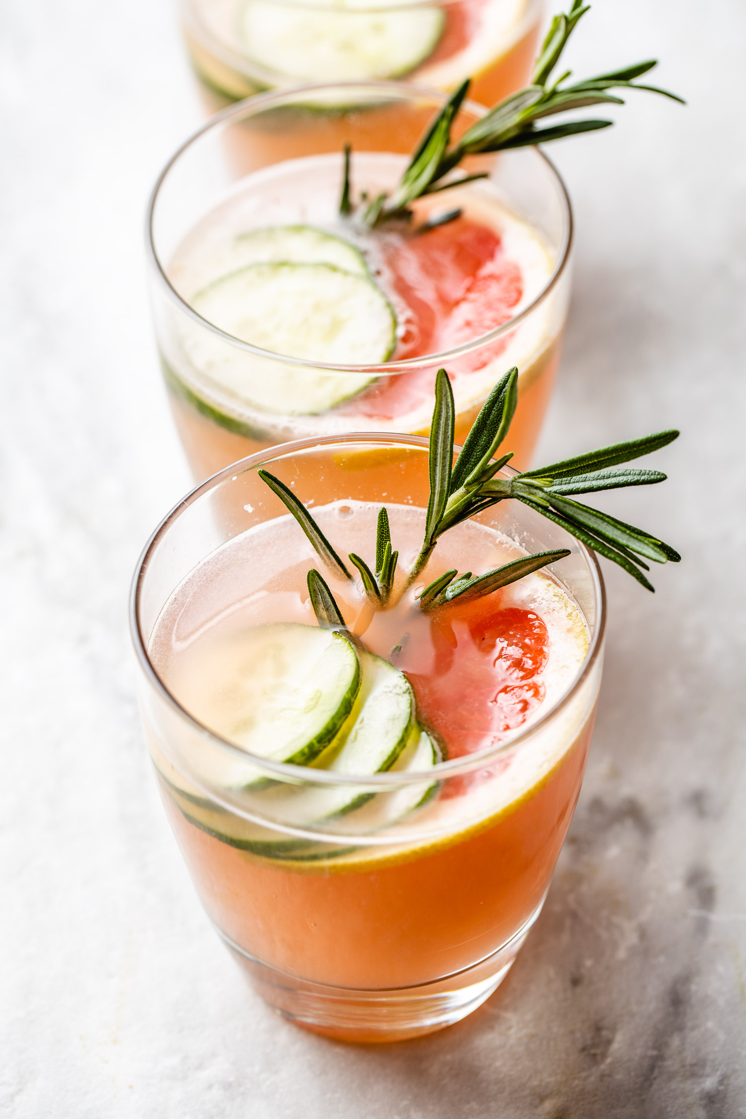 row of low carb skinny pink gin fizz cocktails