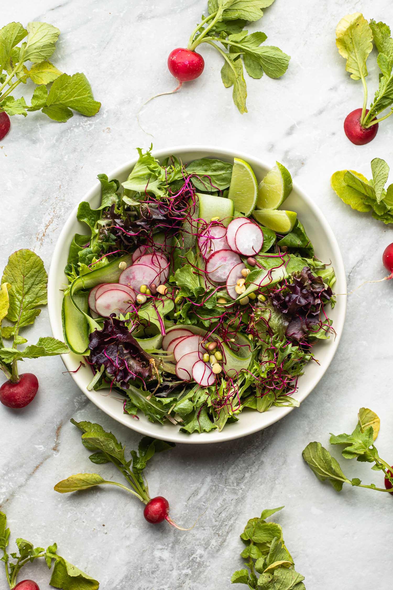 simple cucumber radish salad, extra radish scattered