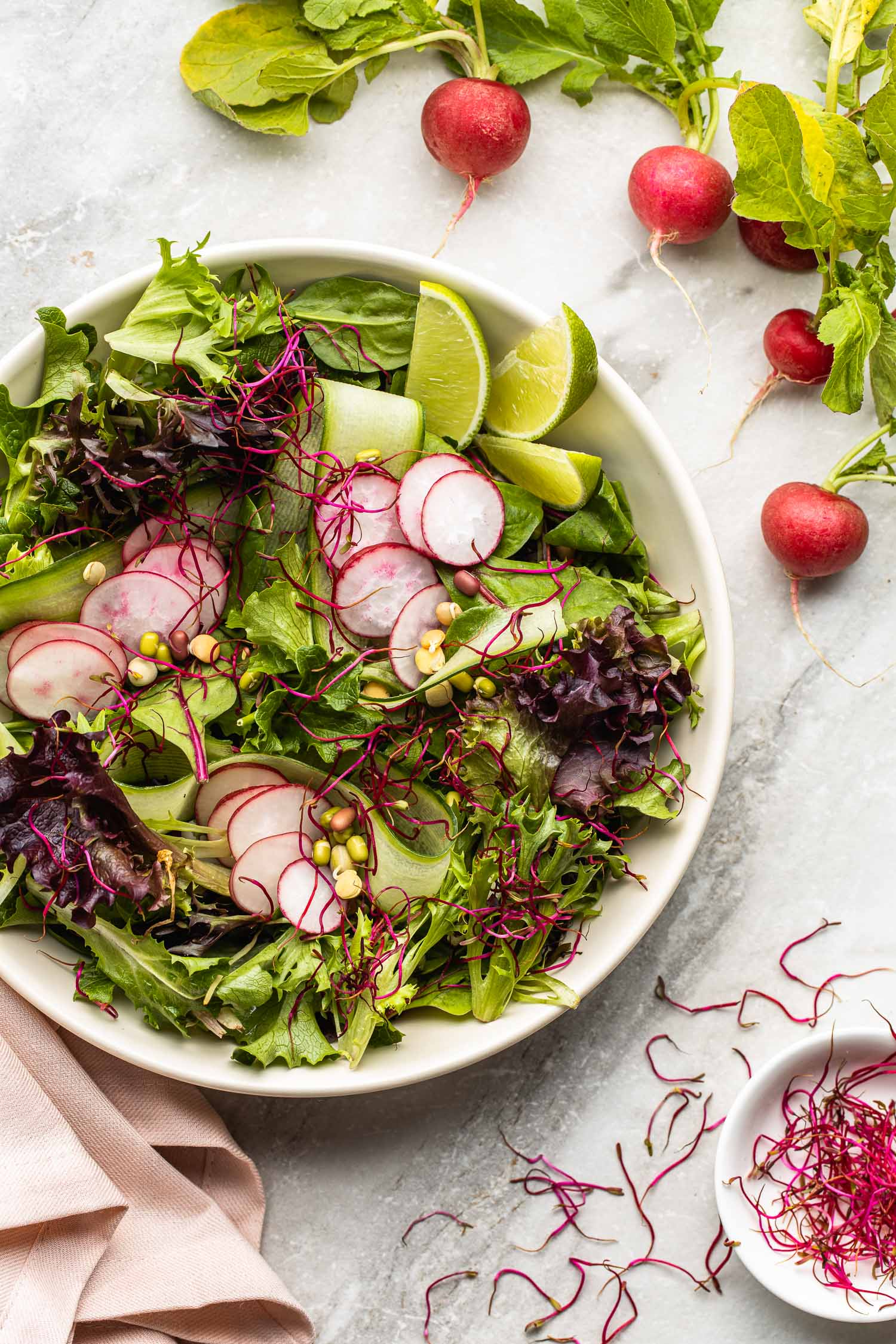 healthy cucumber radish salad with beet sprouts