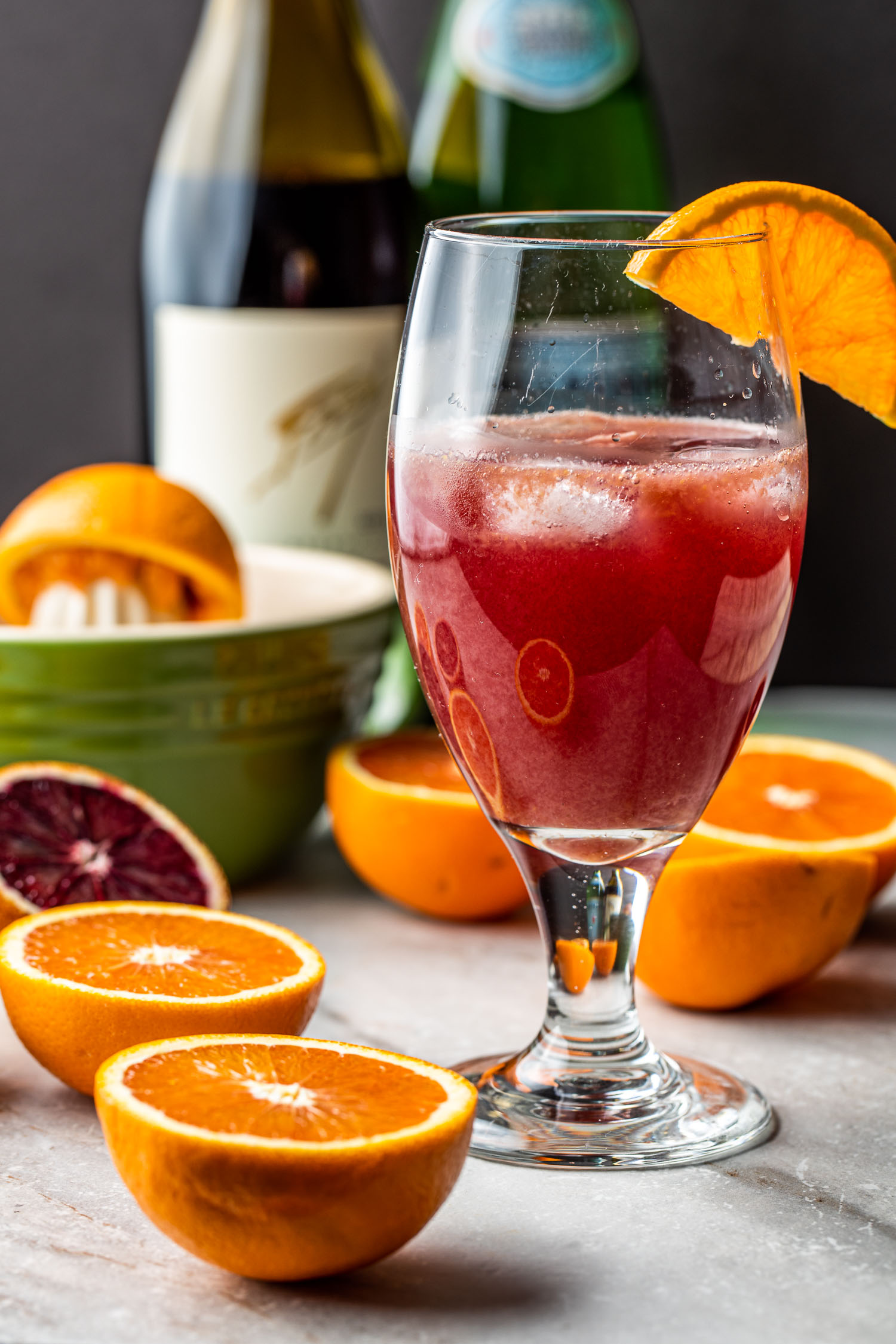 healthy orange juice and red wine spritzer