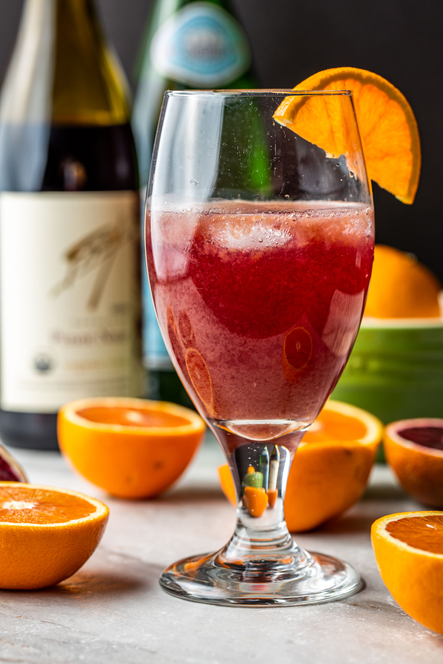 easy red wine cocktail with fresh orange juice