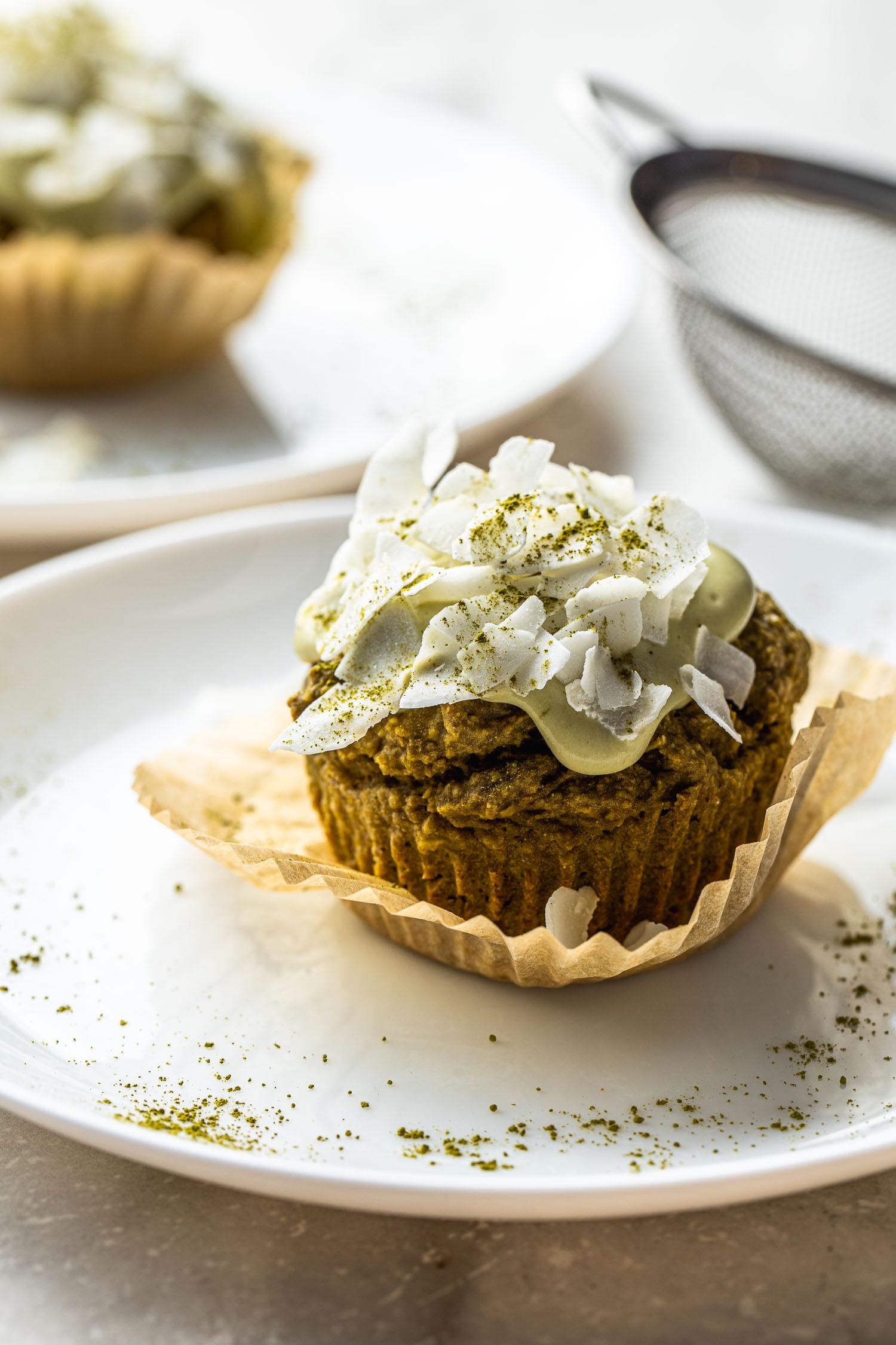 gluten free, vegan, green tea matcha muffins, coconut flakes