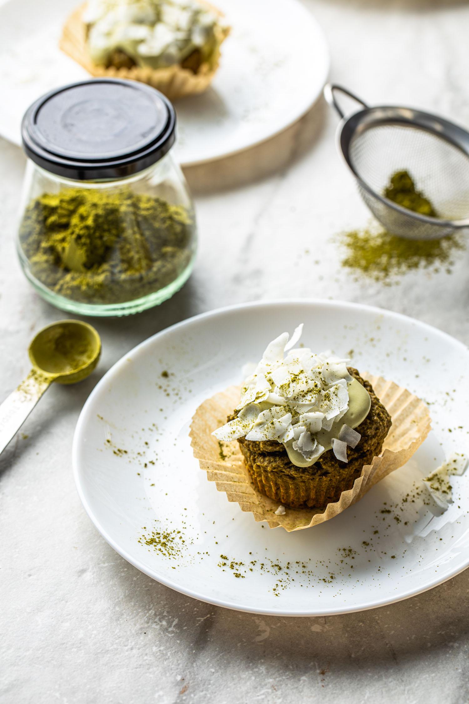 healthy dessert with matcha green tea powder