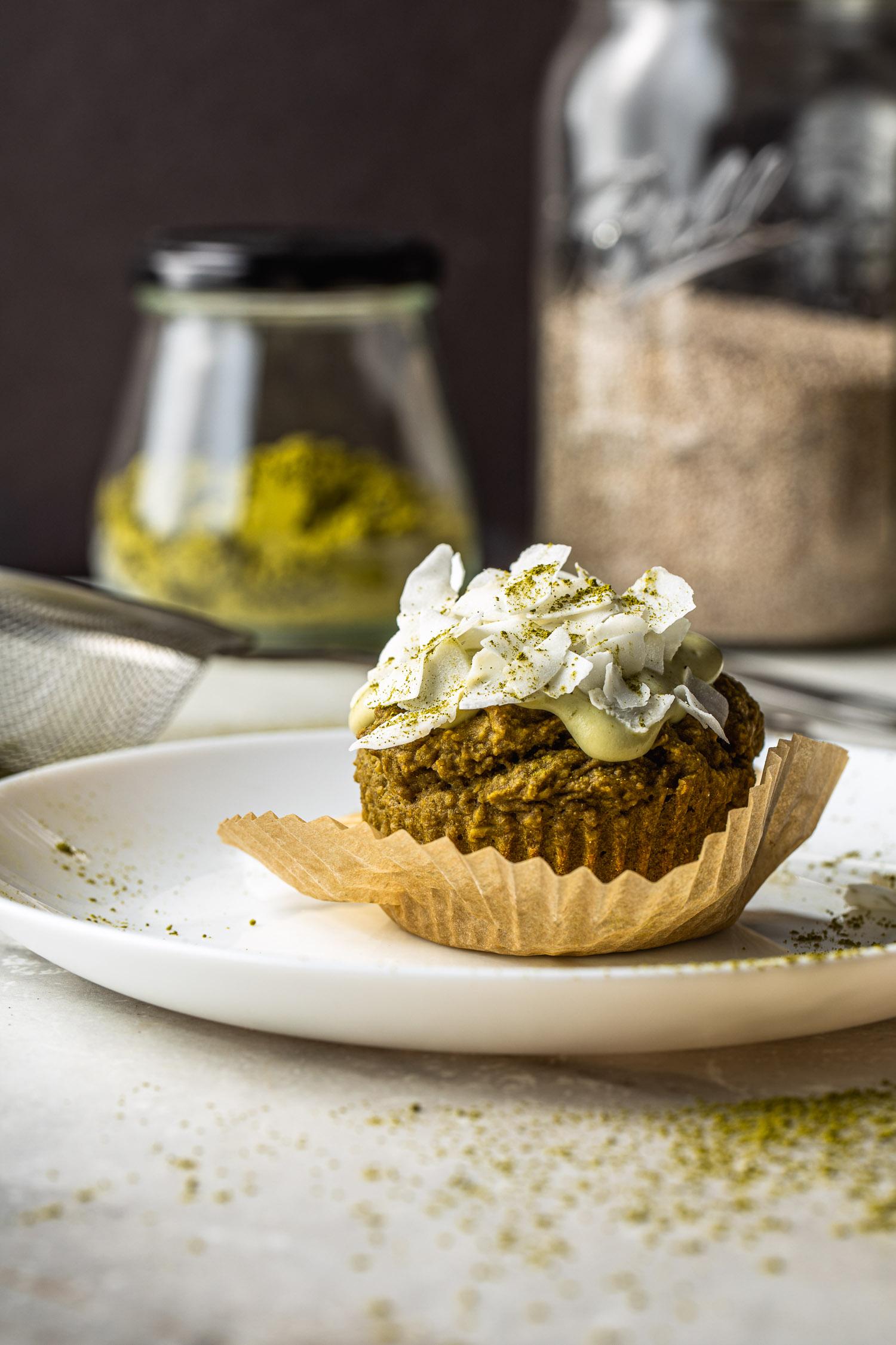 vegan, gluten free, green tea matcha muffins, coconut topping