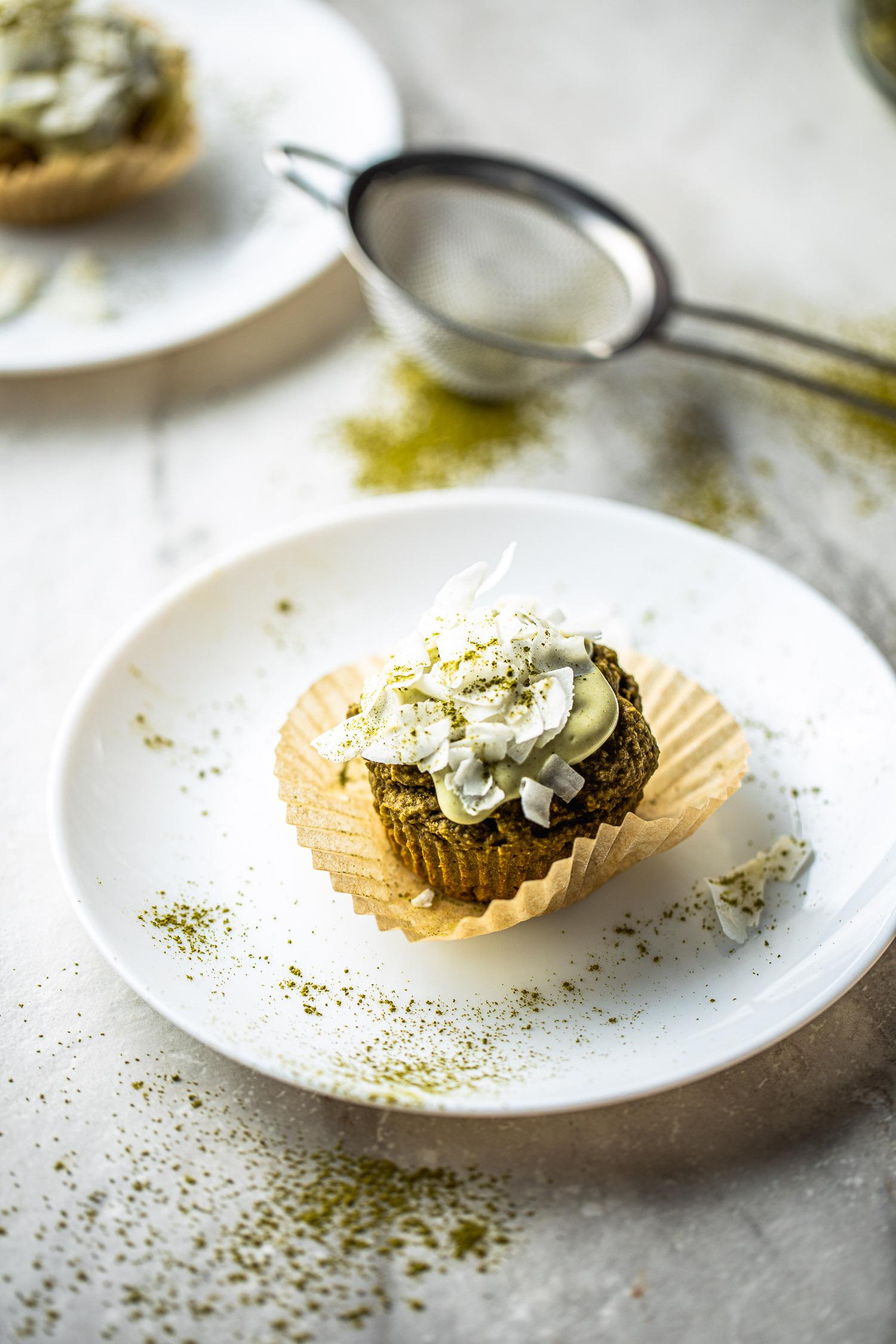 healthy dessert, gluten free, green tea, vegan, cupcake