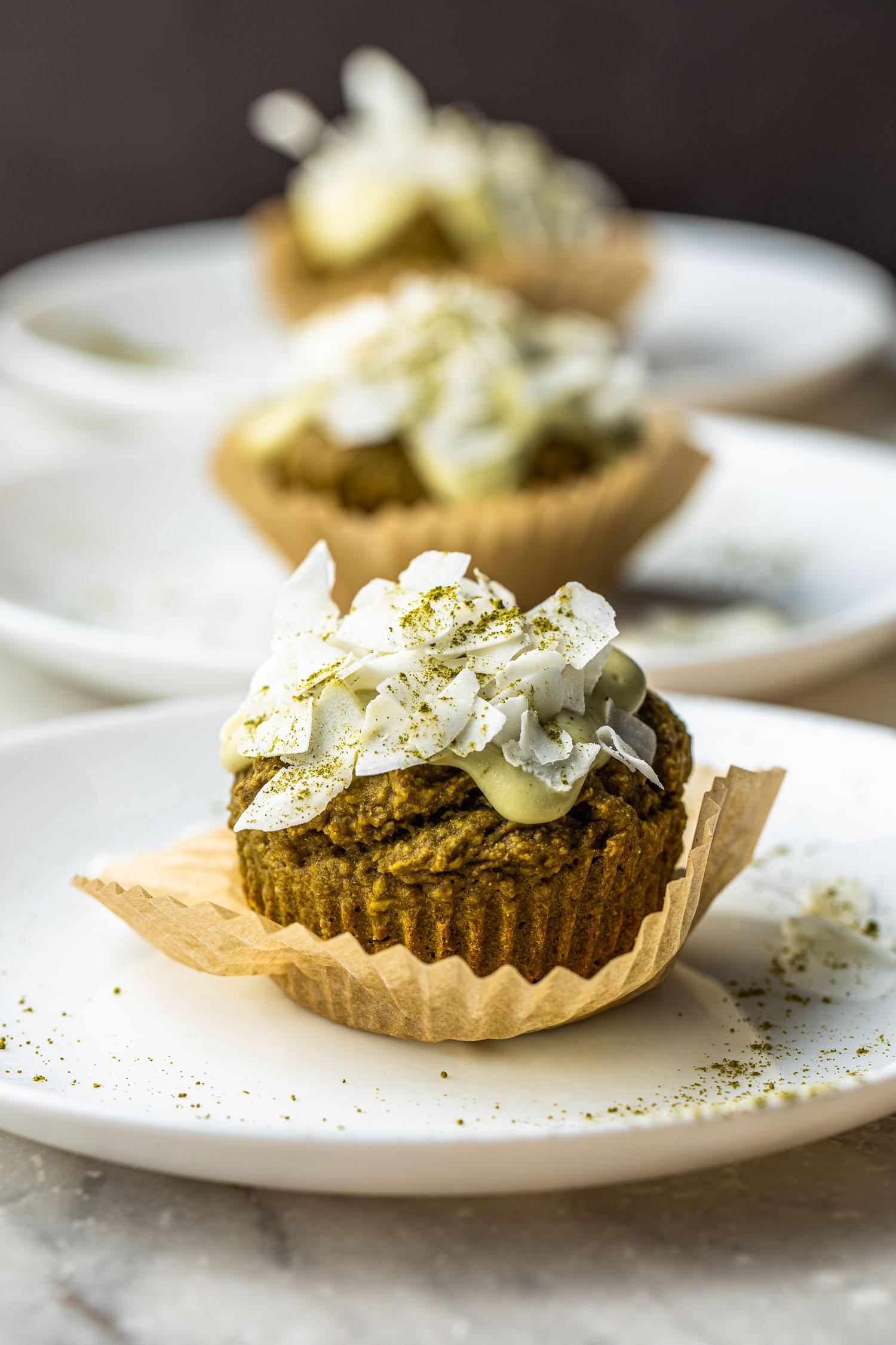 healthy dessert, vegan, green tea, matcha, muffins