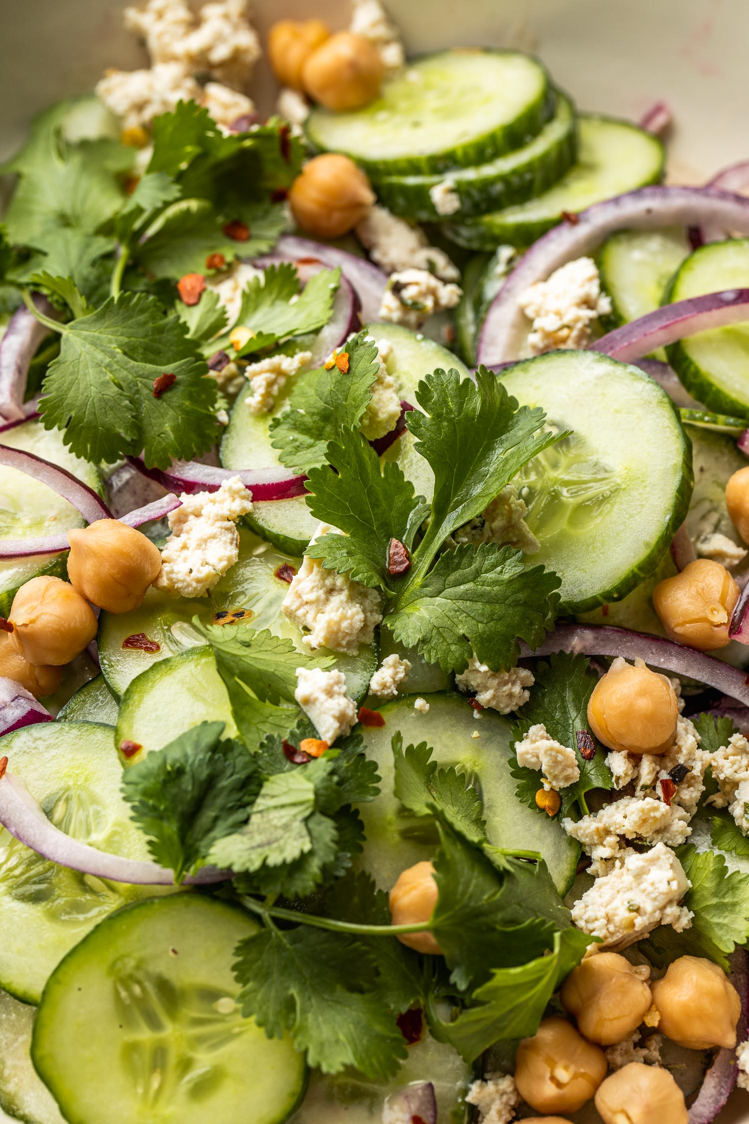 cucumbers, chickpeas, red onion, vegan cheese, cilantro, lime dressing